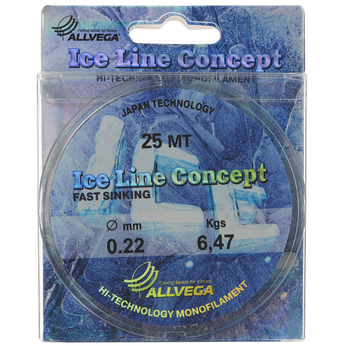 Леска Allvega Ice Line Concept, сечение 0,22 мм, длина 25 м леска монофильная salmo tournament сечение 0 162 мм длина 50 м