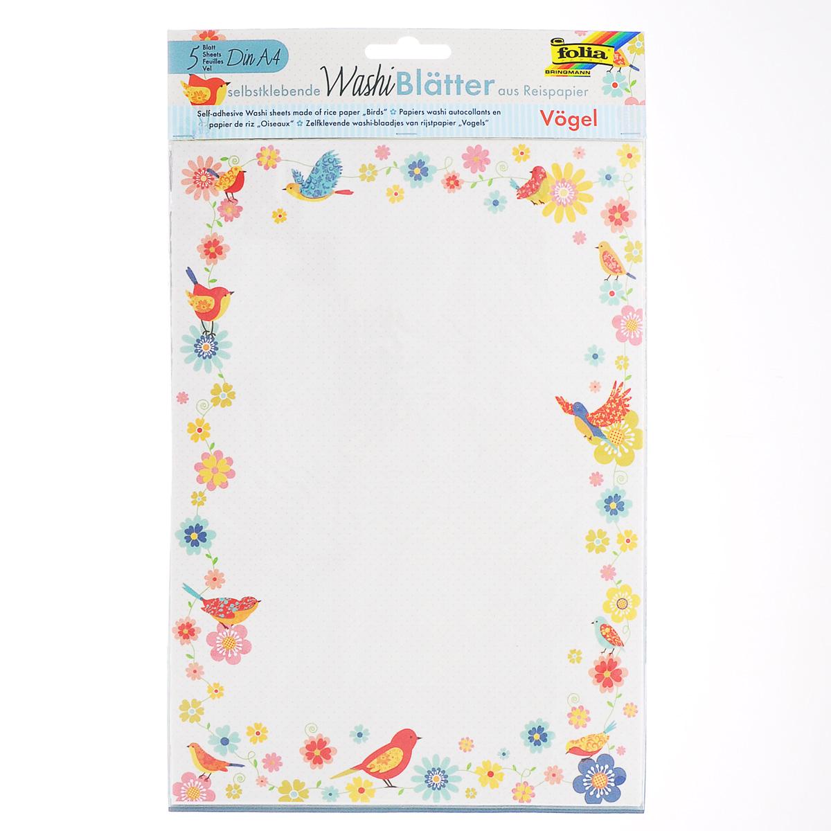 Рисовая бумага Folia Птицы, самоклеящаяся, 29,5 x 21 см, 5 листов7707991Рисовая бумага Folia Птицы - бумага с матовой поверхностью, которая используется для изготовления открыток, для скрапбукинга и других декоративных или дизайнерских работ. Бумага декорирована изображениями разных птичек. Она имеет самоклеящуюся пленку, позволяющую удаление и повторное приклеивание, что обеспечивает большие творческие возможности. Изделие имеет отличное сцепление с бумагой, обоями, тканью и гладкими поверхностями, такими как металл, стекло и т.д. без специальной подготовки.