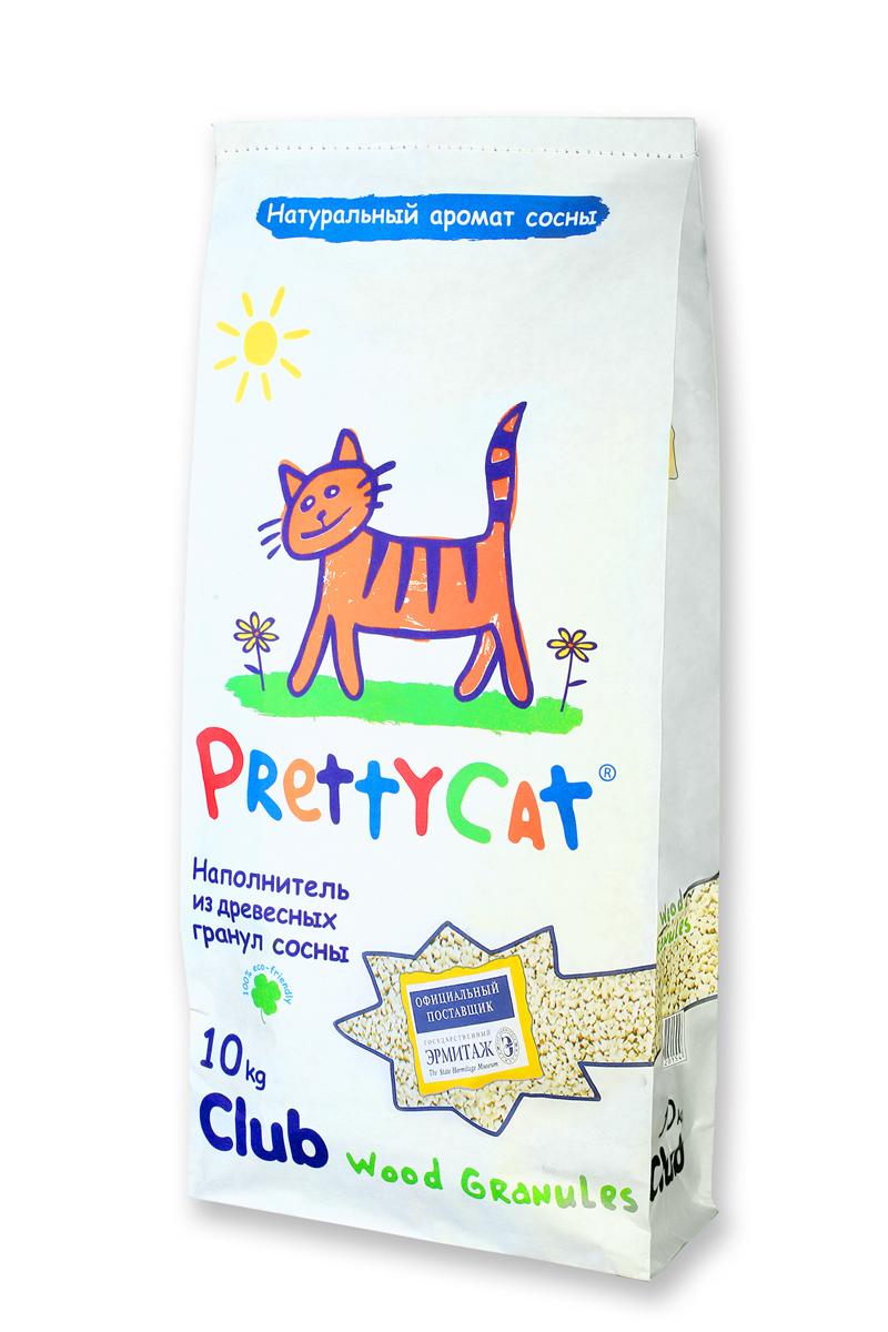 Наполнитель для кошачьих туалетов PrettyCat Wood Granules, древесный, 10 кг