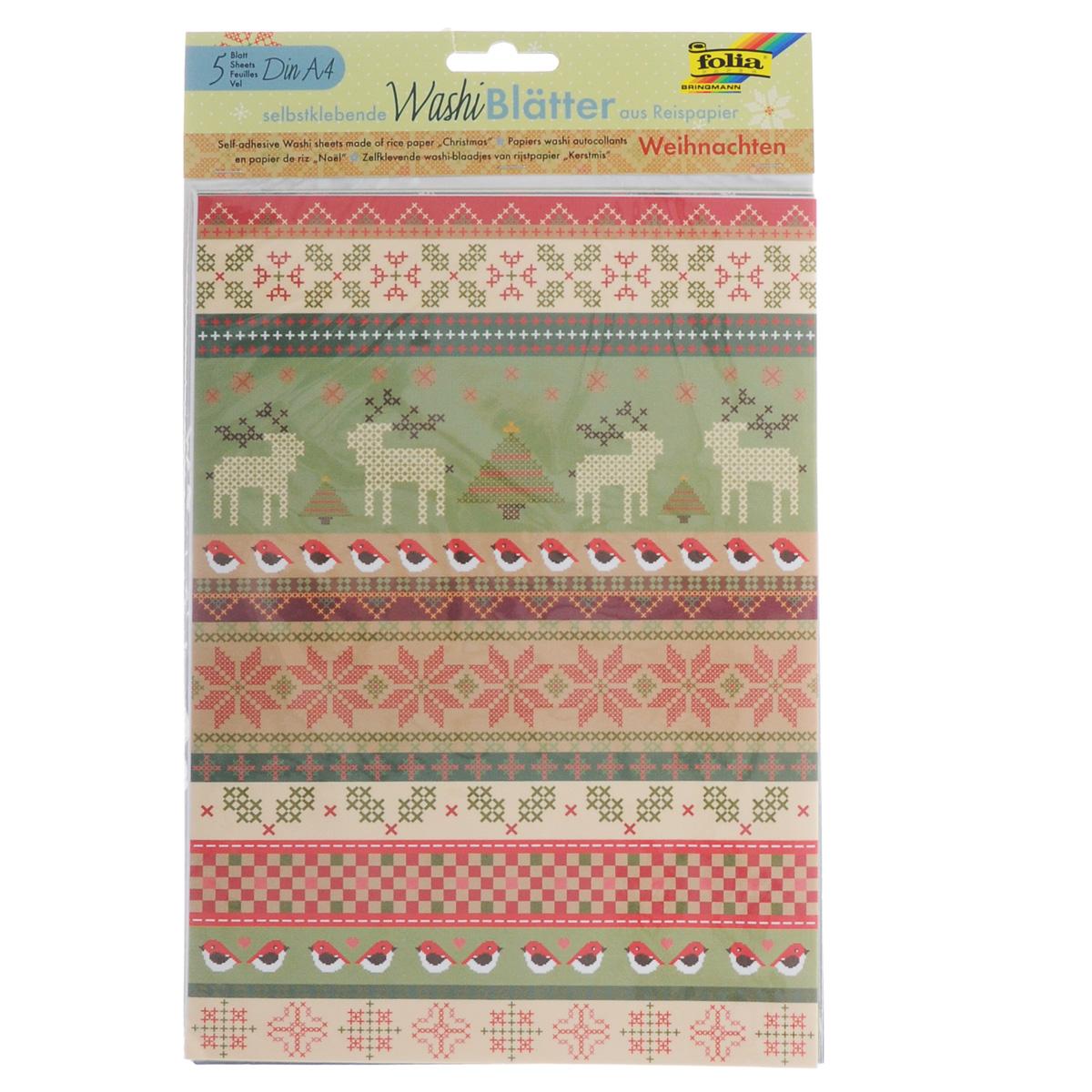 Рисовая бумага Folia Рождество, самоклеящаяся, 29,5 x 21 см, 5 листов дождевики espiro folia magic