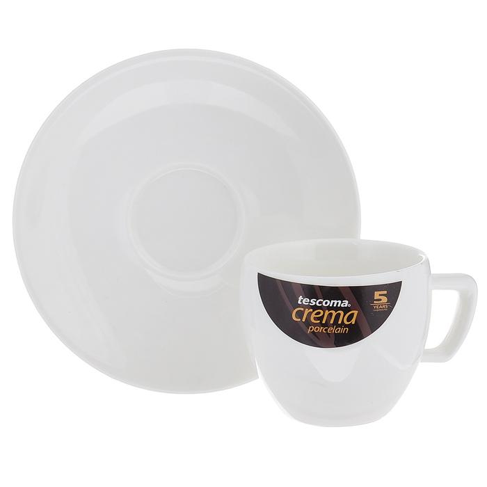 """Чашка с блюдцем для эспрессо """"Tescoma"""" прекрасно подойдет для Вашей кухни. Чашка и блюдце выполнены из первоклассного фарфора.  Изящный дизайн придется по вкусу и ценителям классики, и тем, кто предпочитает утонченность и изысканность.  Можно использовать в микроволновой печи и мыть в посудомоечной машине."""