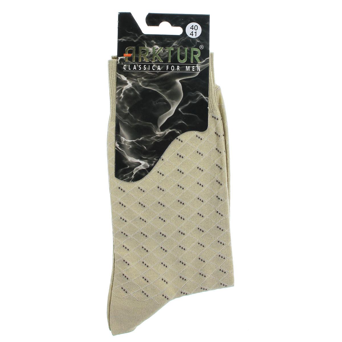 Носки мужские Arktur, цвет: бежевый. Л161. Размер 40/41Л161Мужские носки Arktur престижного класса. Носки превосходного качества из мерсеризованного хлопка отличаются гладкой текстурой и шелковистостью, что создает приятное ощущение нежности и прохлады. Эргономичная резинка пресс-контроль комфортно облегает ногу. Носки обладают повышенной прочностью, не подвержены усадке. Усиленная пятка и мысок. Удлиненный паголенок.Идеальное сочетание практичности, комфорта и элегантности!
