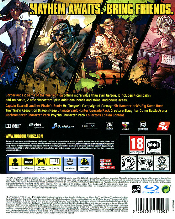 Borderlands 2.  Game of the Year Edition (PS3) Gearbox Software