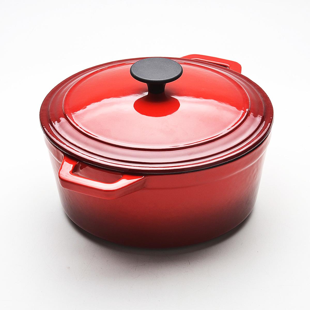 Кастрюля Mayer & Boch с крышкой, с эмалевым покрытием, цвет: красный, 5,6 л22066Кастрюля Mayer & Boch, изготовленная из чугуна, идеально подходит для приготовления вкусных тушеных блюд. Она имеет внешнее и внутреннее эмалевое покрытие. Чугун является традиционным высокопрочным, экологически чистым материалом. Его главной особенностью является то, что эмаль наносится с внешней стороны изделия, а внутри - керамическое покрытие. Причем, чем дольше и чаще вы пользуетесь этой посудой, тем лучше становятся ее свойства. Высокая теплоемкость чугуна позволяет ему сильно нагреваться и медленно остывать, а это в свою очередь обеспечивает равномерное приготовление пищи. Чугун не вступает в какие-либо химические реакции с пищей в процессе приготовления и хранения, а плотное покрытие - безупречное препятствие для бактерий и запахов. Пища, приготовленная в чугунной посуде, благодаря экологической чистоте материала не может нанести вред здоровью человека. Кастрюля оснащена двумя удобными ручками. К кастрюле прилагается чугунная крышка с пластиковой ручкой, которая плотно прилегает к краям кастрюли, сохраняя аромат блюд. Кастрюлю Mayer & Boch можно использовать на всех типах плит, включая индукционные. Также изделие можно мыть в посудомоечной машине. Ширина кастрюли с учетом ручек: 35 см.Высота кастрюли (без учета крышки): 12 см.Толщина стенки: 4 мм. Толщина дна: 5 мм. Диаметр: 27 см.