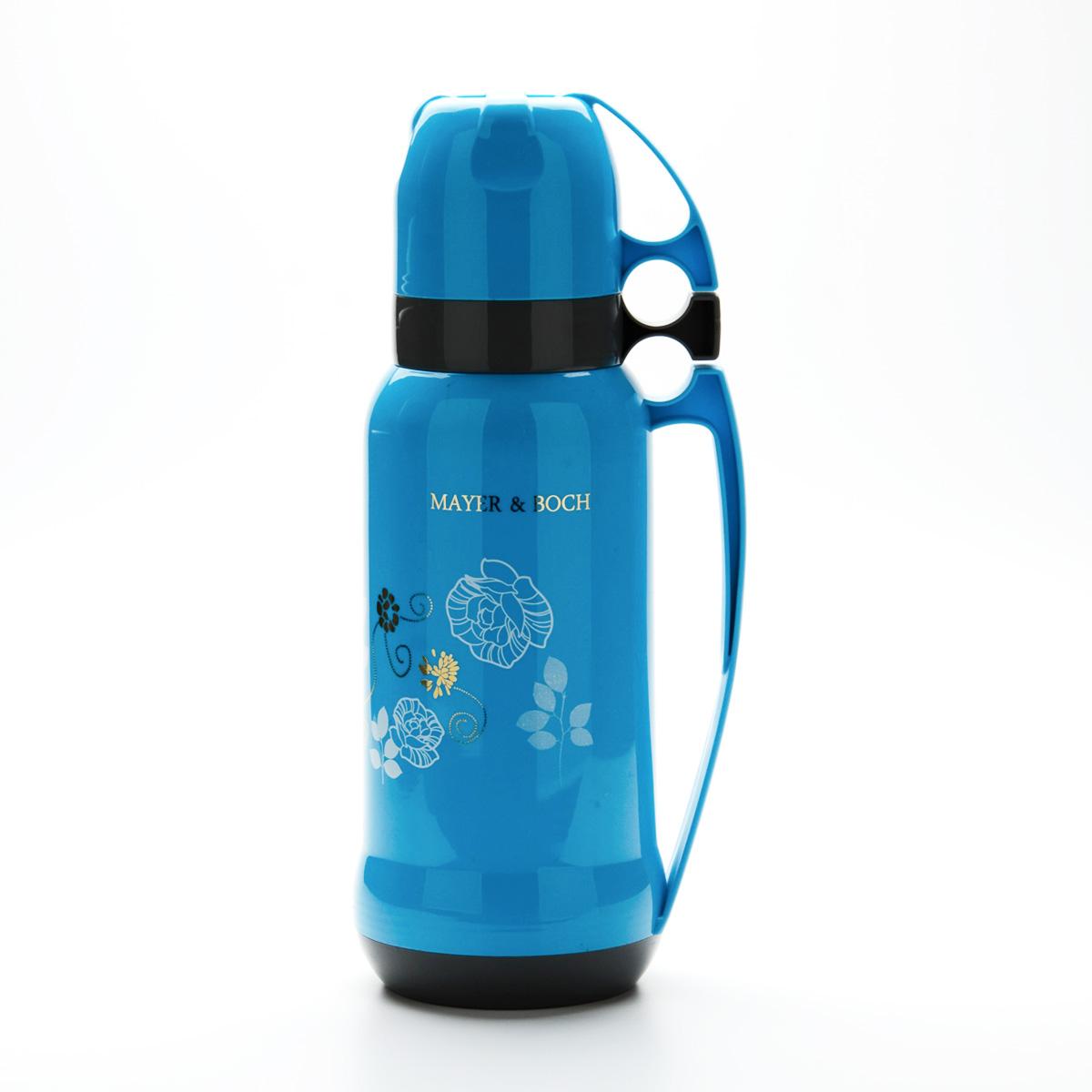 Термос Mayer & Boch, цвет: голубой, 1,8 л21649Пищевой термос с узким горлом Mayer & Boch изготовлен из высококачественного пластика и алюминия и декорирован цветочным рисунком. Термос предназначен для хранения горячих и холодных напитков и укомплектован откручивающейся пробкой без кнопки. Такая пробка надежна, проста в использовании и позволяет дольше сохранять тепло благодаря дополнительной теплоизоляции. Изделие также оснащено крышкой-чашкой, дополнительной чашкой и пластиковой ручкой для удобной переноски термоса. Термос отлично подходит для использования дома, в школе, на природе, в походах и т.д. Легкий и прочный термос Mayer & Boch сохранит ваши напитки горячими или холодными надолго. Высота (с учетом крышки): 38 см.Диаметр горлышка: 5,5 см.Диаметр основания: 10,5 см.