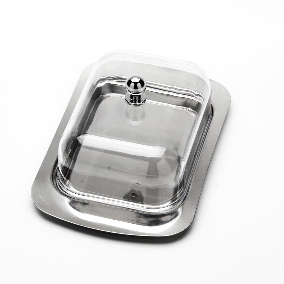 Масленка Mayer & Boch. 2000220002Масленка Mayer & Boch предназначена для красивой сервировки и хранения масла. Она состоит из акриловой крышки и подноса из нержавеющей стали. Масло в ней долго остается свежим, а при хранении в холодильнике не впитывает посторонние запахи. Гладкая поверхность обеспечивает легкую чистку. Можно мыть в посудомоечной машине. Размер подноса: 18,7 см х 12 см х 1,2 см. Размер крышки: 13,5 см х 10 см х 5,5 см.