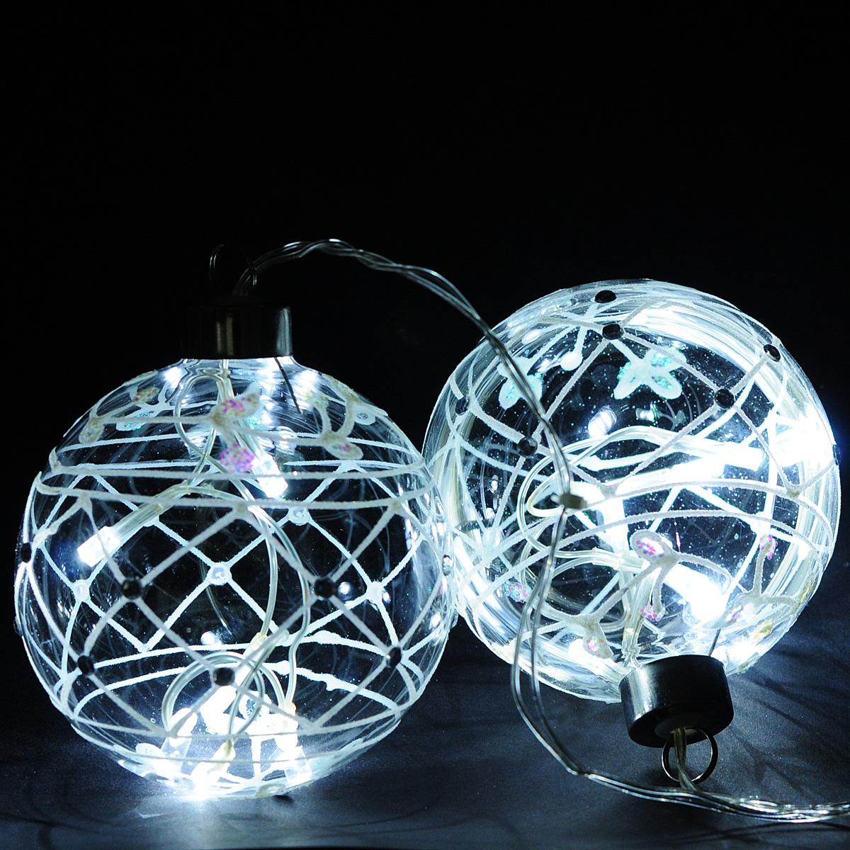 Гирлянда электрическая Lunten Ranta Шары, 12 светодиодов, 1,2 м60061Гирлянда электрическая Lunten Ranta Шары изготовлена из пластика и металла. Гирлянда выполнена в оригинальном стиле в виде двух стеклянных шаров, в которые помещены светодиоды. Шары декорированы блестками. Такая гирлянда украсит ваш дом. Оригинальный дизайн и красочное исполнение создадут праздничное настроение. Откройте для себя удивительный мир сказок и грез. Почувствуйте волшебные минуты ожидания праздника, создайте новогоднее настроение вашим дорогим и близким.Работает от сети 220В.