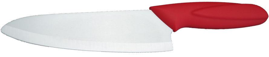 Нож универсальный Supra Same, керамический, цвет: красный, длина лезвия 16 смSK-KS16C redНож керамический Supra изготовлен из высококачественной циркониевой керамики (диоксида циркония). Кристаллическая структура не требует заточки. Керамический нож не оставляет послевкусия, не вступает с продуктами в химическую реакцию и не придает продуктам металлический привкус. Рукоятка изготовлена из ABS-пластика с внешним покрытием SOFT TOUCH (силикон), что предотвращает выскальзывание ножа из рук. К ножу не прилипают продукты. Керамический нож Supra легок в уходе и удобен в использовании. Керамический нож идеально подходят для нарезания мягких, сочных продуктов, спелых томатов, фруктов, мяса и т.д.Ширина лезвия: 4,5 см. Длина лезвия: 16 см.