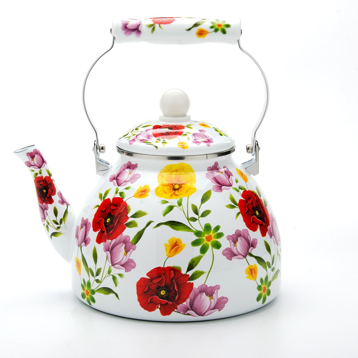 Чайник эмалированный Mayer & Boch, цвет: белый, 4 л. 23859 чайник mayer & boch цвет стальной бирюзовый золотой 4 л 1046a