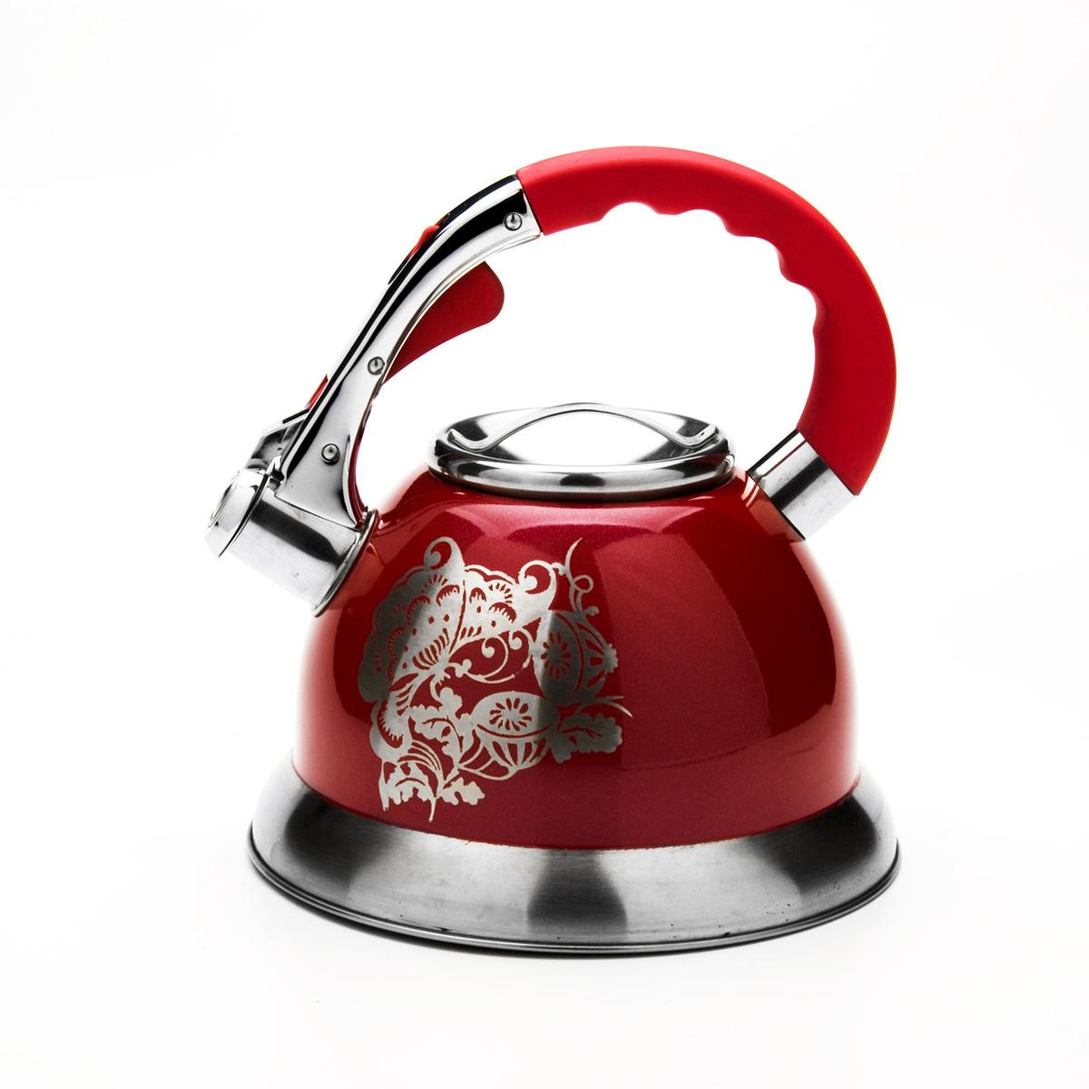 Чайник Mayer & Boch со свистком, цвет: красный, 2,7 л. 2358223582Чайник Mayer & Boch выполнен из высококачественной нержавеющей стали, что обеспечивает долговечность использования. Внешнее цветное эмалевоепокрытие придает приятный внешний вид. Фиксированная ручка из нейлона делает использование чайника очень удобным и безопасным. Чайник снабжен свистком и устройством для открывания носика, которое находится на ручке. Можно мыть в посудомоечной машине. Пригоден для всех видов плит, кроме индукционных. Высота чайника (без учета крышки и ручки): 13 см.Диаметр основания: 22 см.