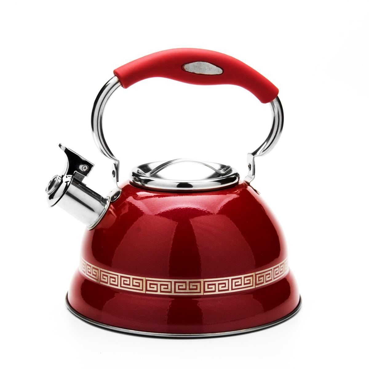 Чайник Mayer & Boch со свистком, цвет: красный, 2,7 л. 2358323583Чайник Mayer & Boch выполнен из высококачественной нержавеющей стали, что обеспечивает долговечность использования. Внешнее цветное эмалевоепокрытие придает приятный внешний вид. Изделие декорировано оригинальным орнаментом. Подвижная ручка из нейлона делает использование чайника очень удобным и безопасным. Чайник снабжен свистком и устройством для открывания носика, которое находится на ручке. Можно мыть в посудомоечной машине. Пригоден для всех видов плит, включая индукционные. Высота чайника (без учета крышки и ручки): 10,5 см.Диаметр основания: 22 см.