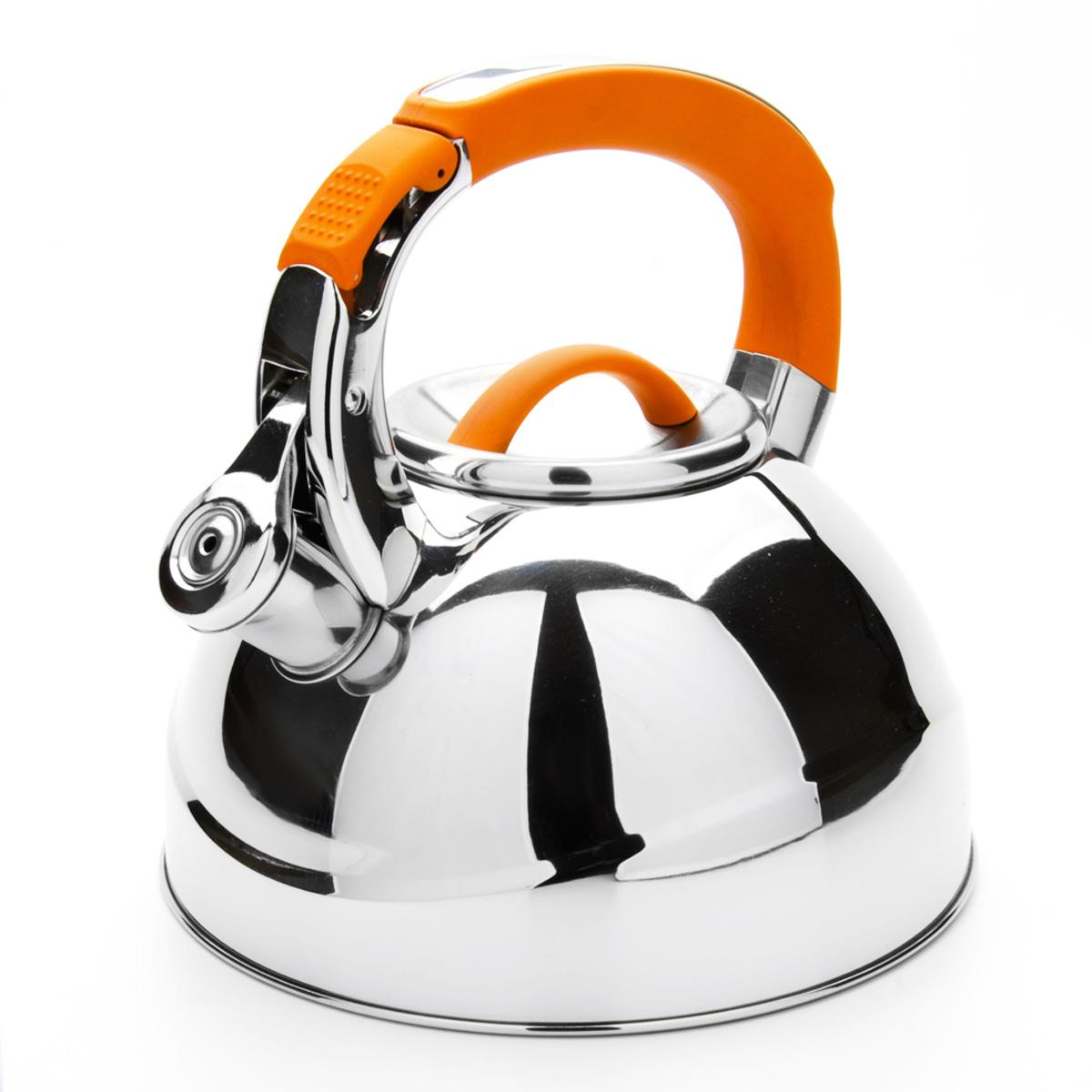 Чайник Mayer & Boch со свистком, цвет: оранжевый, 2,7 л. 23586WR-5208Чайник Mayer & Boch выполнен из высококачественной нержавеющей стали, что обеспечивает долговечность использования. Внешнее зеркальноепокрытие придает приятный внешний вид. Фиксированная ручка из нейлона делает использование чайника очень удобным и безопасным. Чайник снабжен свистком и устройством для открывания носика, которое находится на ручке. Можно мыть в посудомоечной машине. Пригоден для всех видов плит, включая индукционные. Высота чайника (без учета крышки и ручки): 11,5 см. Диаметр по верхнему краю: 10 см.
