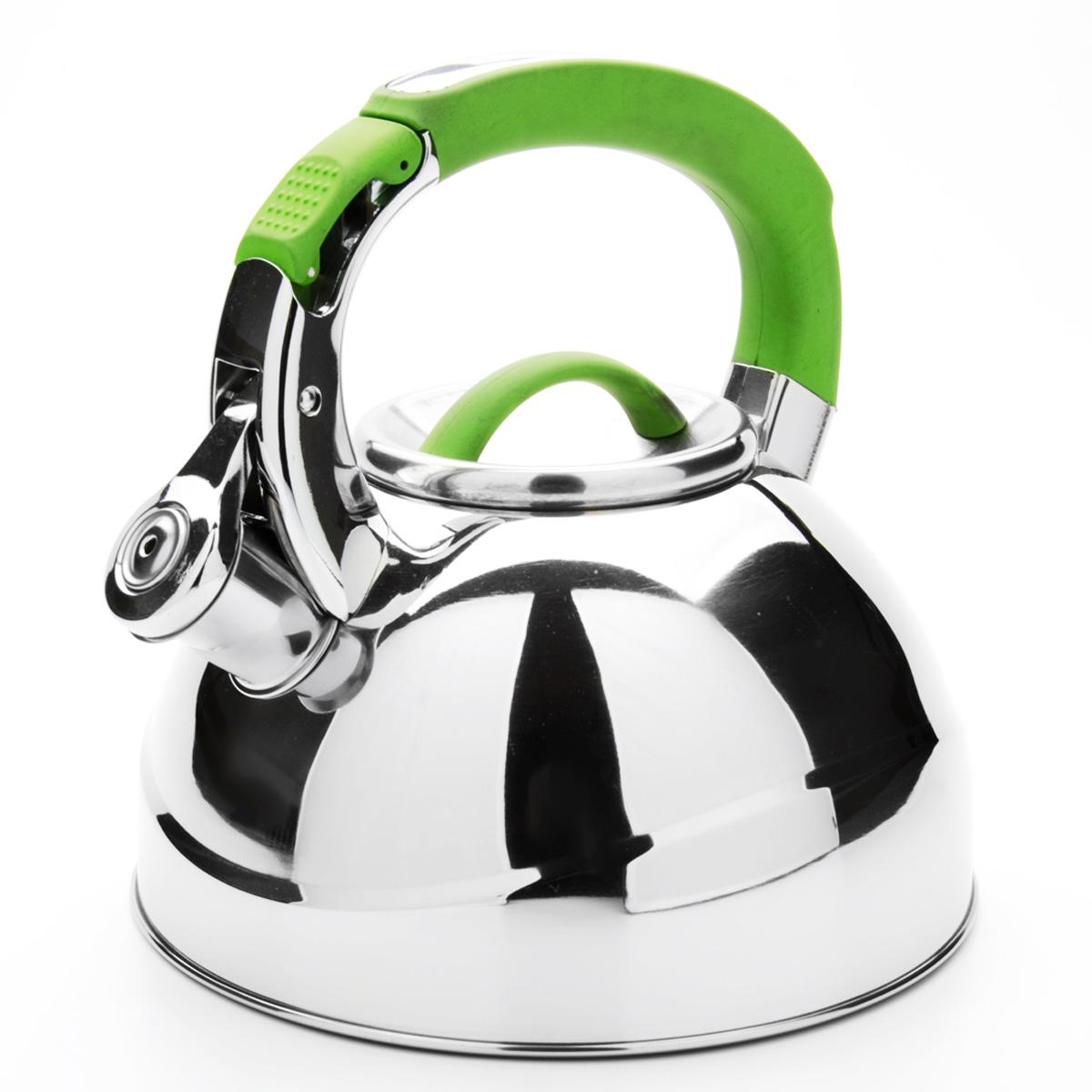 Чайник Mayer & Boch со свистком, цвет: зеленый, 2,7 л. 23588BK-S409Чайник Mayer & Boch выполнен из высококачественной нержавеющей стали, что обеспечивает долговечность использования. Внешнее зеркальноепокрытие придает приятный внешний вид. Фиксированная ручка из нейлона делает использование чайника очень удобным и безопасным. Чайник снабжен свистком и устройством для открывания носика, которое находится на ручке. Можно мыть в посудомоечной машине. Пригоден для всех видов плит, включая индукционные. Высота чайника (без учета крышки и ручки): 11,5 см. Диаметр по верхнему краю: 10 см.