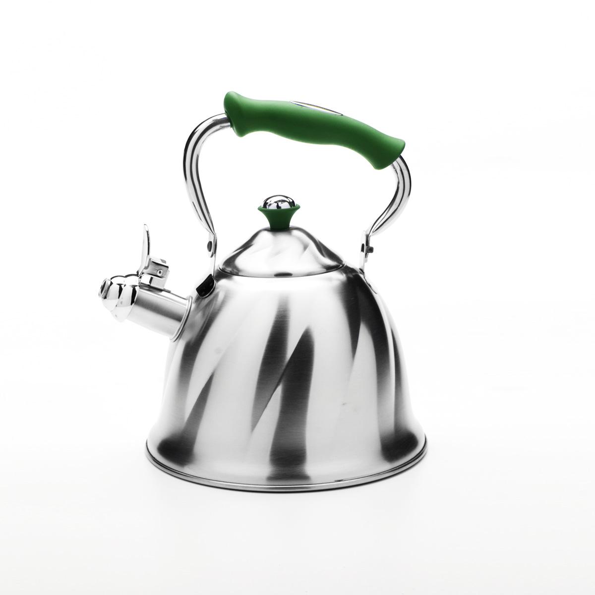 Чайник Mayer & Boch со свистком, цвет: зеленый, 3 л. 2377523775Чайник Mayer & Boch выполнен из высококачественной нержавеющей стали, что обеспечивает долговечность использования. Внешнее матовоепокрытие придает приятный внешний вид. Фиксированная ручка из бакелита делает использование чайника очень удобным и безопасным. Чайник снабжен свистком и устройством для открывания носика. Можно мыть в посудомоечной машине. Пригоден для всех видов плит, кроме индукционных. Высота чайника (без учета крышки и ручки): 13 см.Диаметр основания: 21 см.