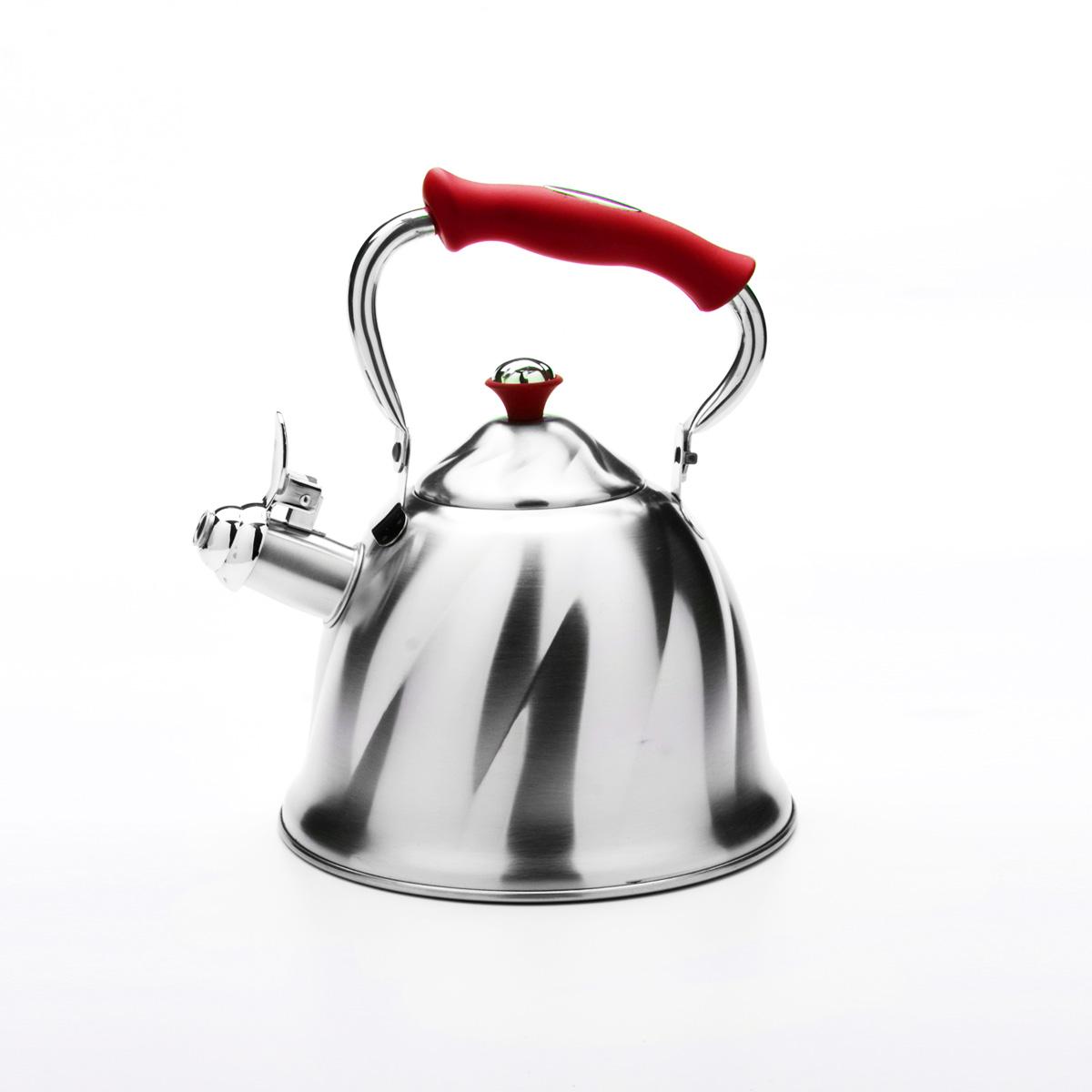 Чайник Mayer & Boch со свистком, цвет: красный, 3 л. 2377623776Чайник Mayer & Boch выполнен из высококачественной нержавеющей стали, что обеспечивает долговечность использования. Внешнее матовоепокрытие придает приятный внешний вид. Фиксированная ручка из бакелита делает использование чайника очень удобным и безопасным. Чайник снабжен свистком и устройством для открывания носика. Можно мыть в посудомоечной машине. Пригоден для всех видов плит, кроме индукционных. Высота чайника (без учета крышки и ручки): 13 см.Диаметр основания: 21 см.