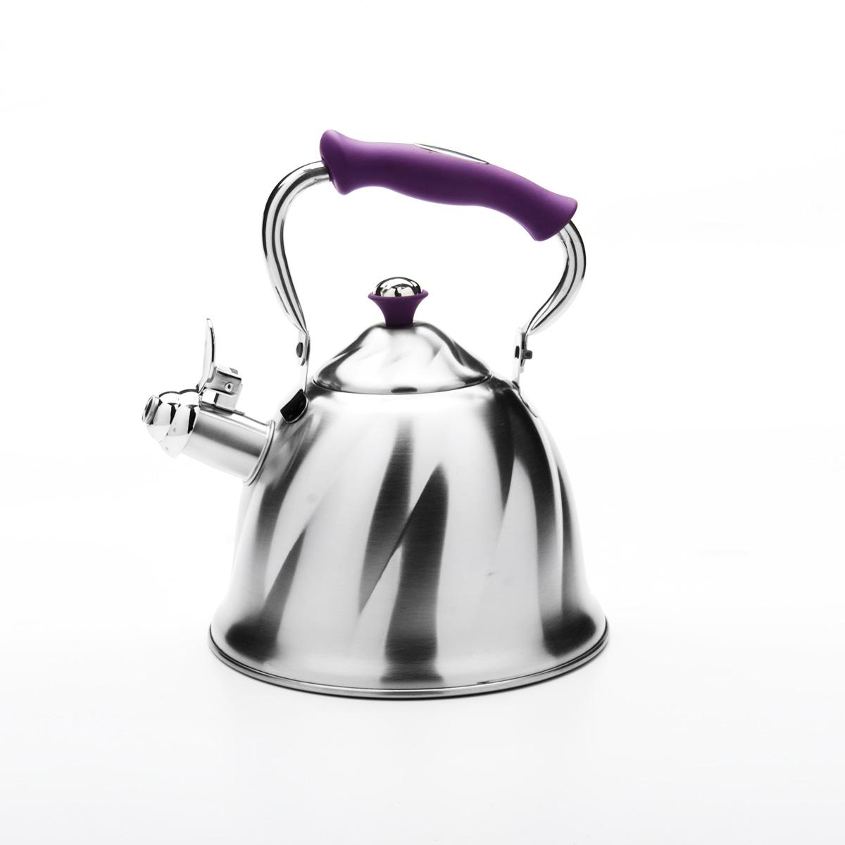 Чайник Mayer & Boch со свистком, цвет: фиолетовый, 3 л. 2377723777Чайник Mayer & Boch выполнен из высококачественной нержавеющей стали, что обеспечивает долговечность использования. Внешнее матовоепокрытие придает приятный внешний вид. Фиксированная ручка из бакелита делает использование чайника очень удобным и безопасным. Чайник снабжен свистком и устройством для открывания носика. Можно мыть в посудомоечной машине. Пригоден для всех видов плит, кроме индукционных. Высота чайника (без учета крышки и ручки): 13 см. Диаметр основания: 21 см.