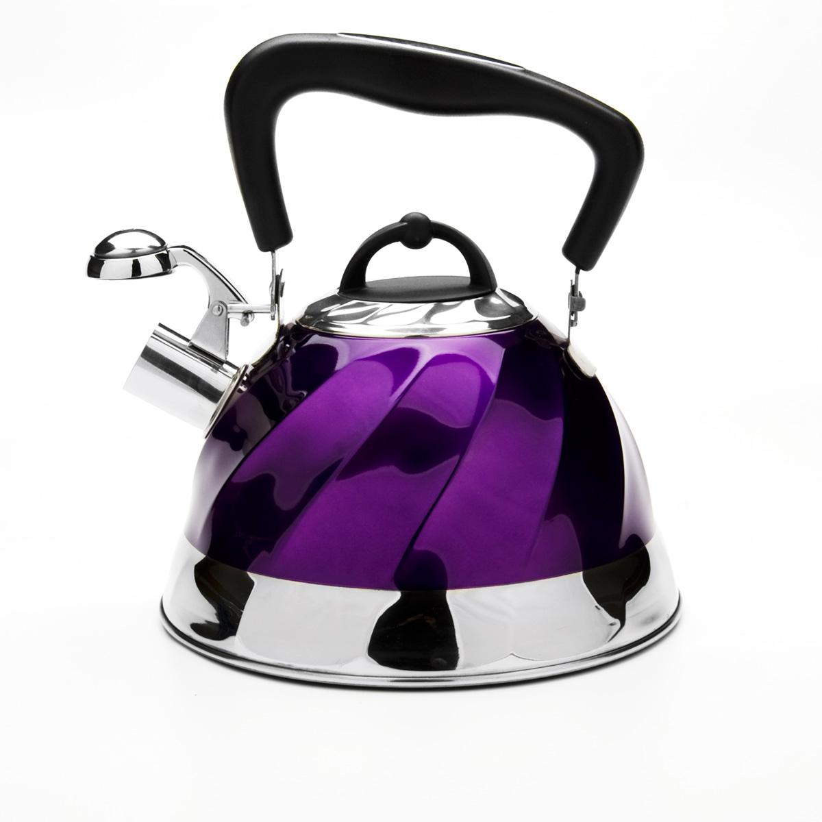 Чайник Mayer & Boch со свистком, цвет: фиолетовый, 3 л. 2378523785Чайник Mayer & Boch выполнен из высококачественной нержавеющей стали, что обеспечивает долговечность использования. Внешнее цветное эмалевоепокрытие придает приятный внешний вид. Подвижная ручка из бакелита делает использование чайника очень удобным и безопасным. Чайник снабжен свистком и устройством для открывания носика. Можно мыть в посудомоечной машине. Пригоден для всех видов плит, кроме индукционных. Высота чайника (без учета крышки и ручки): 13 см.Диаметр основания: 22 см.