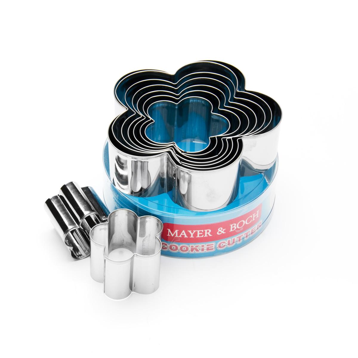 Набор форм для вырезания Mayer & Boch, 9 шт. 2400124001Набор Mayer & Boch состоит из девяти форм для вырезания, выполненных из высококачественной нержавеющей стали. С такими формами для вырезания будет легко сделать забавные украшения и формы для вашего торта или кексов. Просто раскатайте мастику или тесто, и вырезайте! Можно мыть в посудомоечной машине. Диаметр форм: 11,5 см; 10,5 см; 9,5 см; 8,5 см; 7,5 см; 6,5 см; 5,5 см; 4,5 см; 3,5 см.Высота форм: 3,7 см.