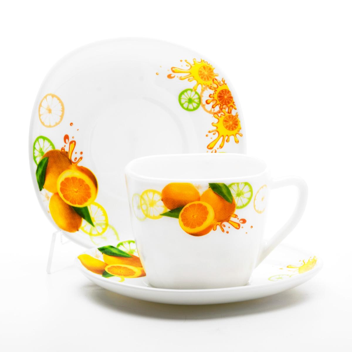 Набор чайный Mayer & Boch Лимон, 12 предметов. 2410824108Чайный набор Mayer & Boch Лимон, выполненный из высококачественного стекла, состоит из шести чашек и шести блюдец. Предметы набора оформлены изображением лимонов. Изящный дизайн и красочность оформления придутся по вкусу и ценителям классики, и тем, кто предпочитает утонченность и изысканность.Чайный набор - идеальный и необходимый подарок для вашего дома и для ваших друзей в праздники, юбилеи и торжества! Он также станет отличным корпоративным подарком и украшением любой кухни. Объем чашки: 210 мл. Размер чашки по верхнему краю: 8,5 см х 8 см. Высота чашки: 7 см. Размер блюдца: 14 см х 14 см.