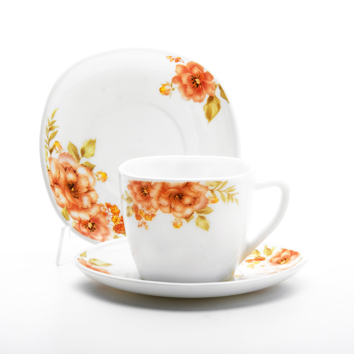 """Чайный набор Mayer & Boch """"Цветы"""", выполненный из высококачественного стекла, состоит из шести чашек и шести блюдец. Предметы набора оформлены изображением цветов. Изящный дизайн и красочность оформления придутся по вкусу и ценителям классики, и тем, кто предпочитает утонченность и изысканность.   Чайный набор - идеальный и необходимый подарок для вашего дома и для ваших друзей в праздники, юбилеи и торжества! Он также станет отличным корпоративным подарком и украшением любой кухни.    Объем чашки: 210 мл.  Размер чашки по верхнему краю: 8,5 см х 8 см.  Высота чашки: 7 см.  Размер блюдца: 14 см х 14 см."""