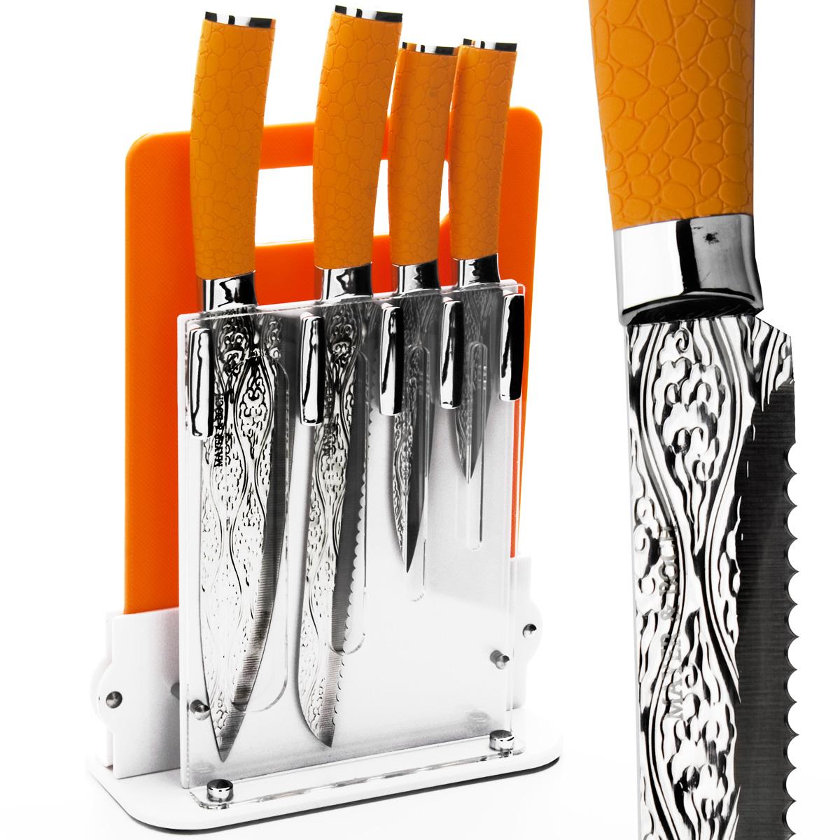 Набор ножей Mayer & Boch, цвет: оранжевый, 6 предметов. 2413724137Набор ножей Mayer & Boch состоит из 4 ножей (поварской, хлебный, универсальный, для очистки), разделочнойдоски и подставки. Лезвия ножей выполнены из высококачественной нержавеющей стали с покрытием non-stick иукрашены изысканным рельефом. Такое покрытие предотвращает прилипание продуктов к лезвию ножа,продукты моментально отлипают, что позволяет нарезать быстро. Покрытие также предотвращает ржавление.Режущая кромка лезвий устойчива к притуплению.Рукоятки эргономичной формы выполнены из пластика с прорезиненным покрытием. Специальный дизайнрукоятки обеспечивает комфортный и легко контролируемый захват.В комплект входит акриловая подставка и пластиковая разделочная доска прямоугольной формы.В наборе есть все необходимое для ежедневной нарезки фруктов, овощей и мяса. Ножи не рекомендуется мыть впосудомоечной машине.Длина лезвия поварского ножа: 20,3 см.Общая длина поварского ножа: 33 см.Длина лезвия универсального ножа: 12,7 см.Общая длина универсального ножа: 23,5 см.Длина лезвия хлебного ножа: 20,3 см.Общая длина хлебного ножа: 33 см.Длина лезвия ножа для очистки: 8,9 см.Общая длина ножа для очистки: 20 см.Размер подставки (ДхШхВ): 21 см х 9 см х 22 см.Размер разделочной доски: 28,8 см х 19 см х 0,5 см.