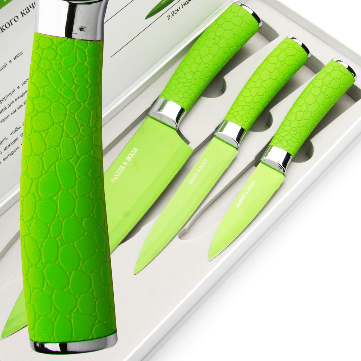 """Набор ножей """"Mayer & Boch"""" состоит из 3 ножей: нож поварской, нож универсальный и нож для очистки. Ножи выполнены из нержавеющей стали, ручки из полипропилена.  Оригинальный набор ножей великолепно украсит интерьер кухни и станет замечательным помощником.  Можно мыть в посудомоечной машине.     Длина лезвия поварского ножа: 20,3 см. Общая длина поварского ножа: 33 см. Длина лезвия универсального ножа: 12,7 см. Общая длина универсального ножа: 24 см. Длина лезвия ножа для очистки: 8,9 см. Общая длина ножа для очистки: 20 см."""