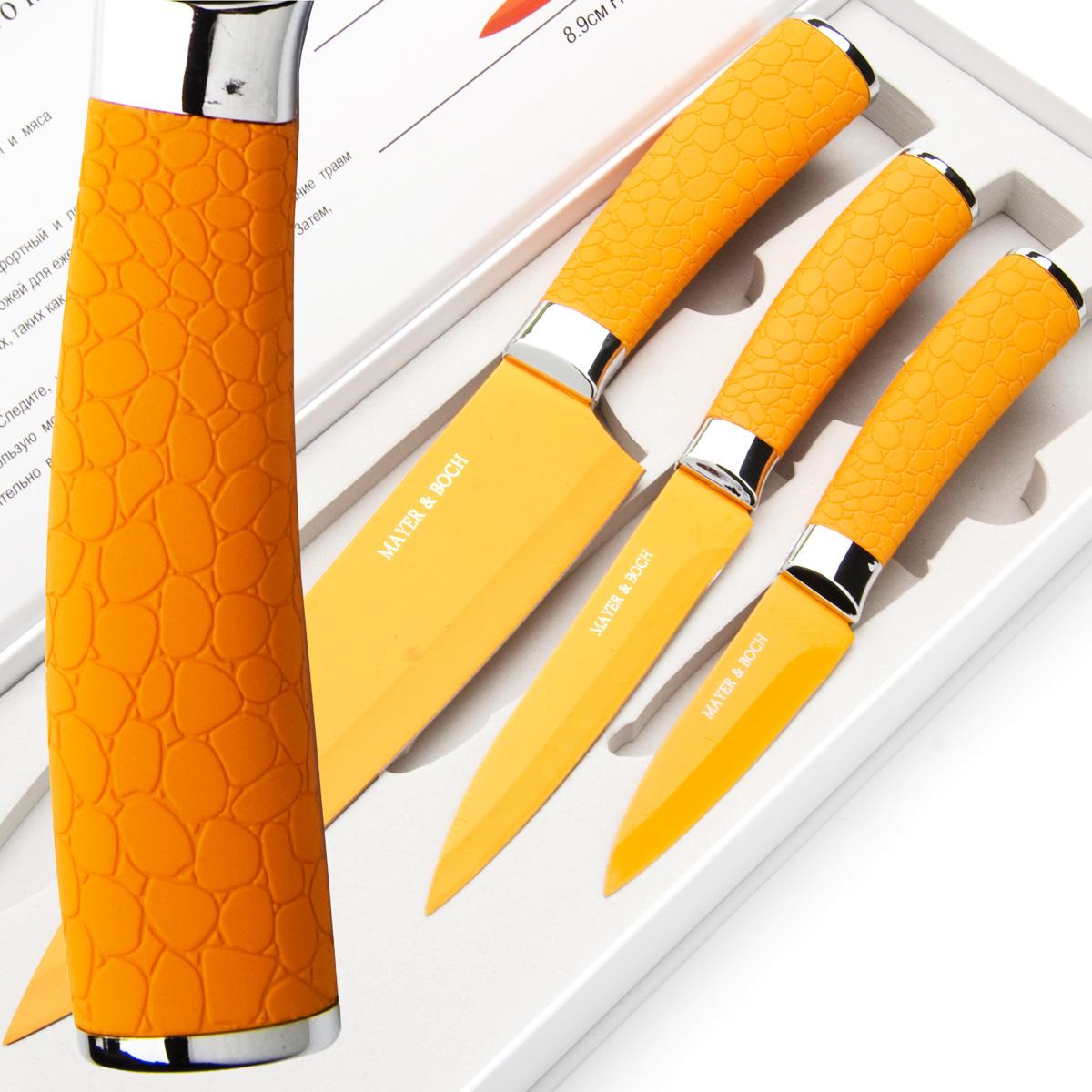 Набор ножей Mayer & Boch, цвет: оранжевый, 3 шт. 2414624146Набор ножей Mayer & Boch состоит из 3 ножей: нож поварской, нож универсальный и нож для очистки. Ножи выполнены из нержавеющей стали, ручки из полипропилена.Оригинальный набор ножей великолепно украсит интерьер кухни и станет замечательным помощником.Можно мыть в посудомоечной машине. Длина лезвия поварского ножа: 20,3 см. Общая длина поварского ножа: 33 см. Длина лезвия универсального ножа: 12,7 см. Общая длина универсального ножа: 24 см. Длина лезвия ножа для очистки: 8,9 см. Общая длина ножа для очистки: 20 см.