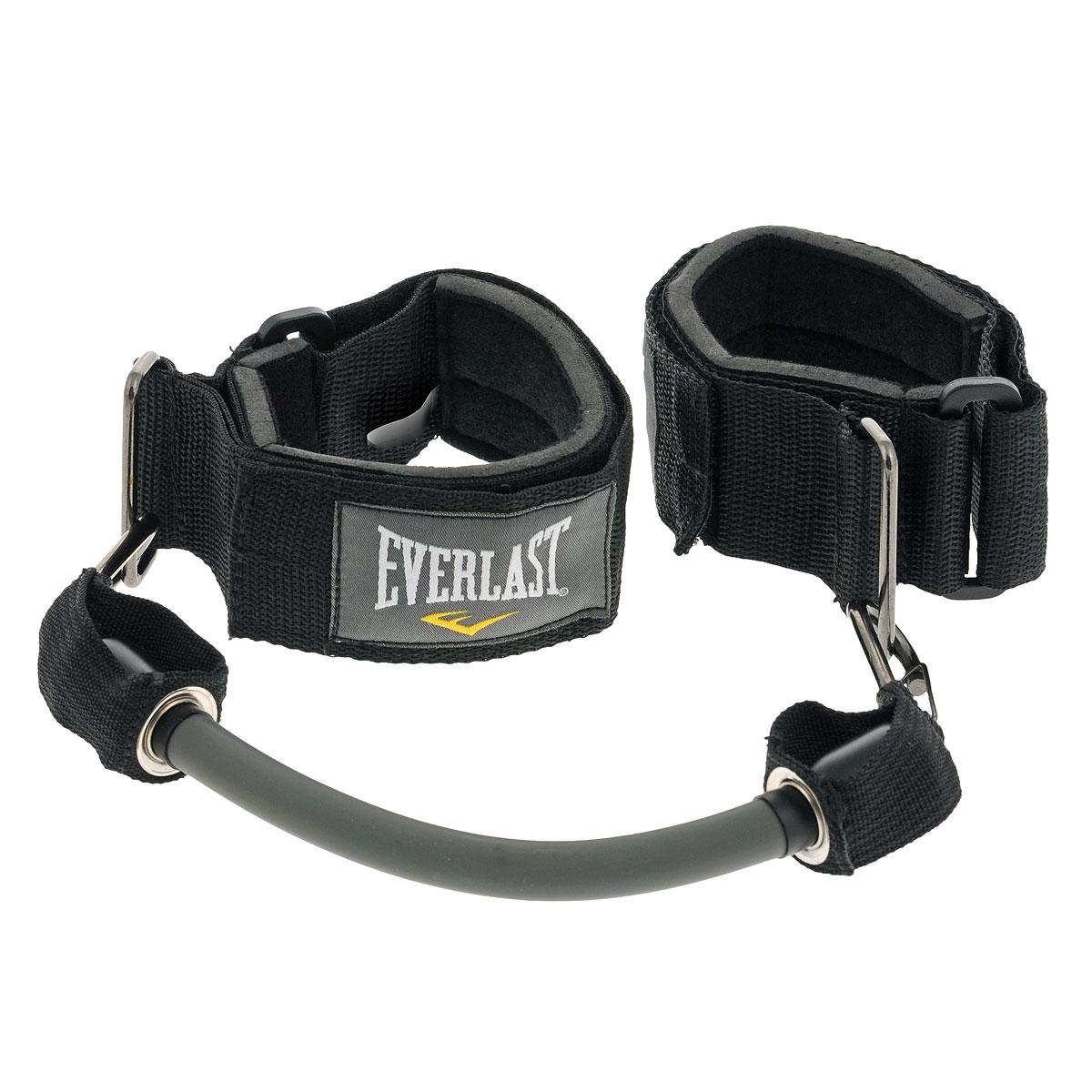 """Everlast """"Ankle Resistance"""" - эспандер для тренировки ног, который пригодится не только боксерам, но и фитнес-спортсменам. Мягкие манжеты с регулировкой длины гарантируют комфортную тренировку, а сменные жгуты позволяют варьировать нагрузку в зависимости от целей или уровня подготовки. Красный жгут обеспечивает сопротивление до 7 кг и предназначен для отработки техники ударов коленом и ногой. Серый жгут повышает сопротивление до 11 кг и идеален для того, чтобы совершенствовать стойку."""
