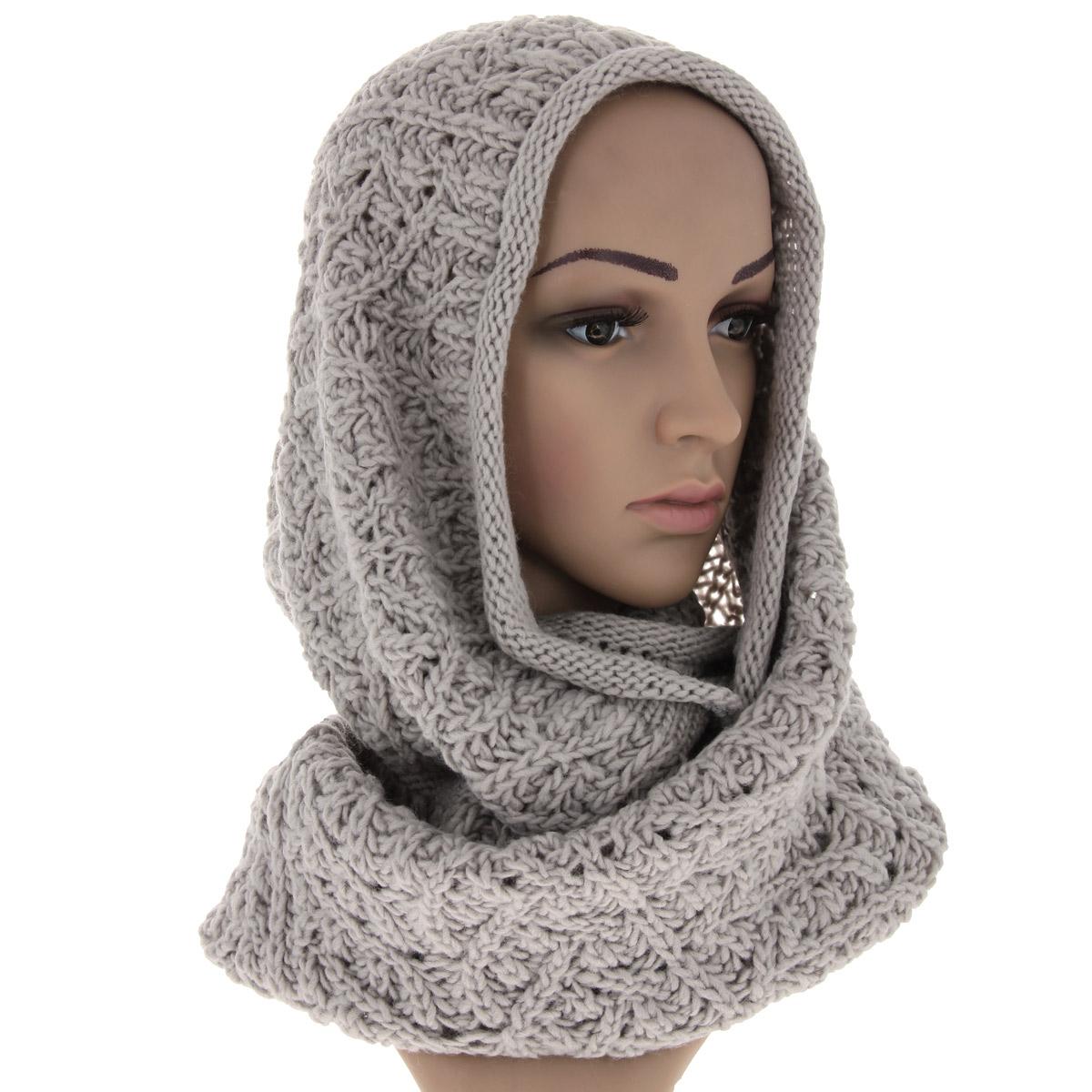 Снуд-хомут женский Snezhna, цвет: светло-серый. 44452/2. Размер 130 см х 35 см женский гардероб
