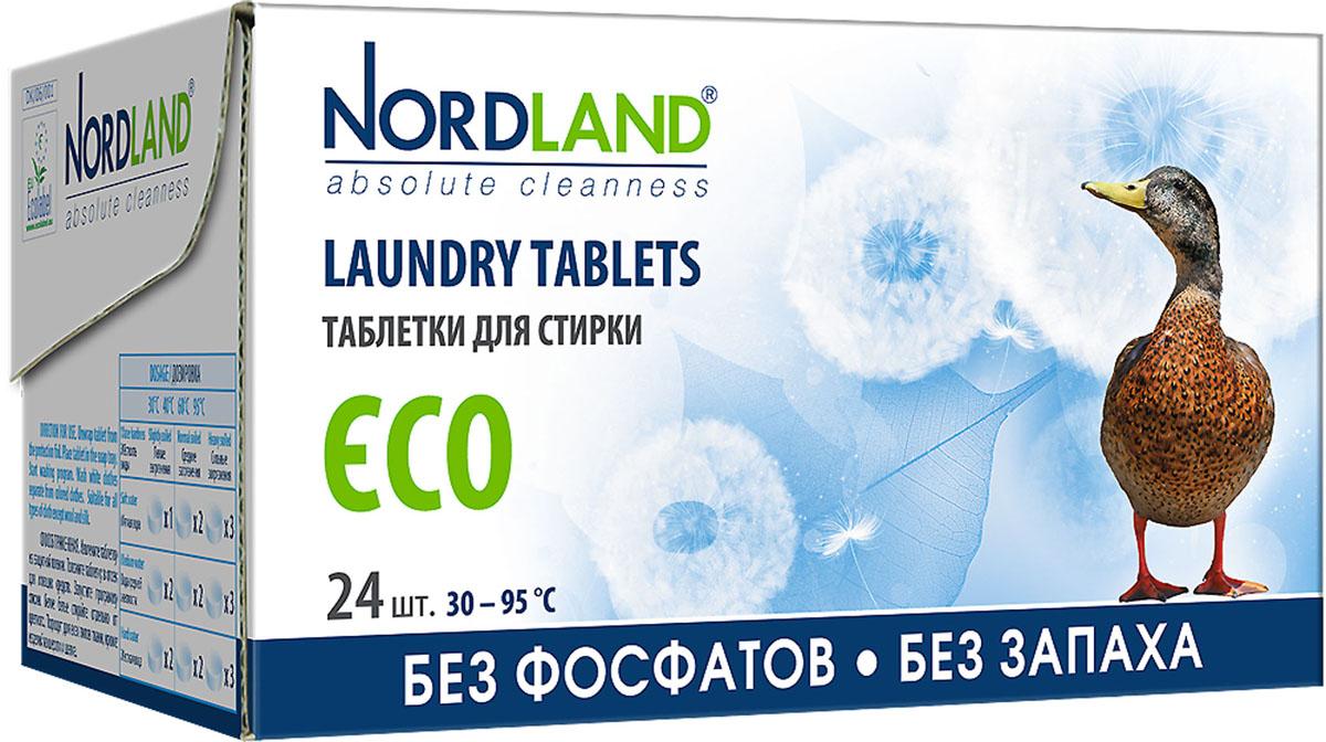 Таблетки для стирки Nordland ECO, 24 х 33,75 г390582Таблетки для стирки Nordland ECO без фосфатов и без запаха. Предназначены для стирки белого и нелиняющего цветного белья в стиральных машинах всех типов при температуре от +30° до +95°С в воде любой жесткости.- Дерматологически протестированы - Полностью биоразлагаемые - Без фосфатов - Без запаха - Без консервантов - Без красителей - Гипоаллергенный продукт, безопасный для чувствительной кожи - Подходят для стирки детского белья - Щадящее влияние на водную экосистему - Ограниченное содержание вредных компонентов - Соответствуют требованиям экологичности - EU Ecolabel. Состав: 15-30%: цеолиты, кислородный отбеливатель; 5-15%: неионные ПАВ, поликарбоксилаты; менее 5%: мыло, энзимы.Вес одной таблетки: 33,75 г.Количество таблеток: 24 шт.Общий вес: 810 г.Товар сертифицирован.
