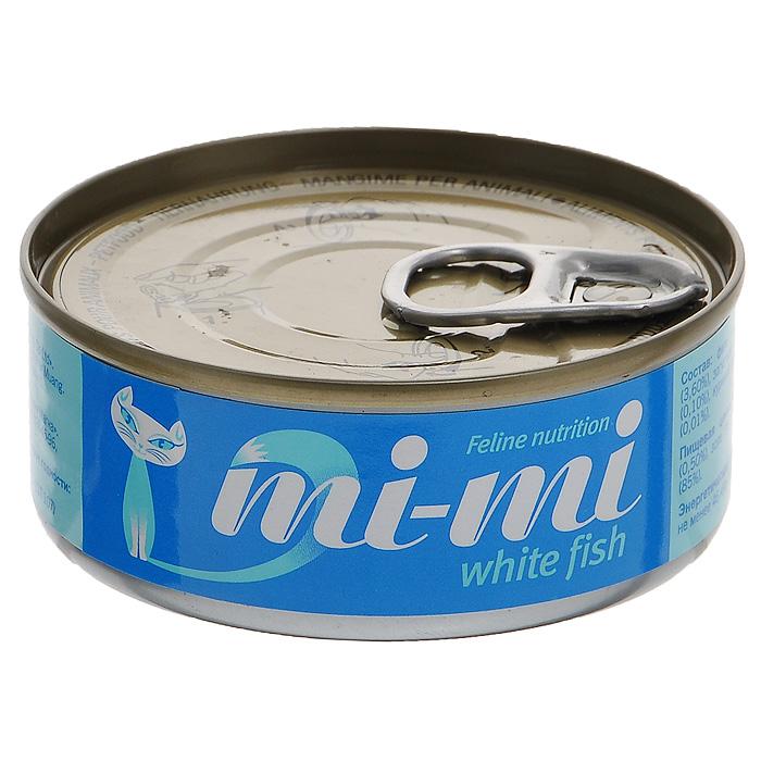 Консервы для кошек и котят Mi-Mi, с белой рыбой, 80 г ми ми консервы с белой рыбой для котят и взрослых кошек mi mi 80 г