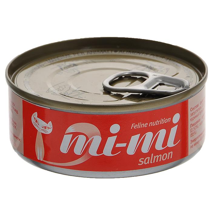 Консервы для кошек и котят Mi-Mi, с лососем, 80 г15838Консервы Mi-Mi изготовлены только из натуральных продуктов с добавлением минеральных веществ и витаминов в необходимой пропорции. Не содержат красителей и ароматизаторов. Идеально сбалансированный состав позволяет применять консервы Mi-Mi для кормления самых требовательных и проблемных кошек, в том числе и для бесшерстных пород. Способствует профилактике мочекаменной болезни за счет сбалансированного минерального состава и pH-контроля. Содержат высокую концентрацию таурина, оказывающего благотворное действие на зрение и сердце.Состав: филе тунца (47,4%), лосось (3,6%), загуститель (1,2%), яичный порошок (0,1%), куриный бульон (47,69%), витамин Е (0,01%). Пищевая ценность: протеин (12%), жир (0,50%), зола (3%), клетчатка (1%), влажность (85%).Энергетическая ценность: не менее 46 ккал / 100 г. Товар сертифицирован.