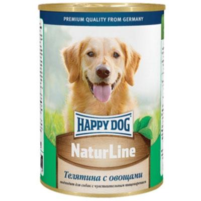 Консервы для собак Happy Dog Natur, с телятиной и овощами, 400 г. 1587315873Консервы для собак Happy Dog Natur с телятиной и овощами обладают исключительным вкусом, не менее привлекательным для животного, чем 100% мясной рацион. К тому же наличие в составе овощей положительно скажется на состоянии иммунной системы и работе желудочно-кишечного тракта, поэтому такие консервы являются максимально полезным влажным рационом, который можно давать животному каждый день. Консервы для собак Happy Dog Natur с телятиной и овощами полностью соответствуют естественным потребностям взрослых собак вне зависимости от их принадлежности к породе. Это максимально натуральные консервы, для приготовления которых не использовалась соя, искусственные красители и консерванты. В основе консервов находится отборная телятина. Питательная ценность и полезность телятины для организма обусловлена её богатым витаминно-минеральным составом и насыщенность качественным протеином. Телятина хорошо усваивается и, благодаря наличию в мясе теленка экстрактивных веществ, способствует более сильному выделению желудочного сока, необходимого для переваривания пищи. Железо и медь необходимы для образования гемоглобина и повышения сопротивляемости организма бактериям. В том числе медь участвует в образовании коллагена и эластина, необходимых для повышения прочности и эластичности тканей. Фосфор и магний необходимы для формирования крепкого скелета. Цинк ускоряет процесс заживления ран и является эффективным средством лечения и профилактики дерматоза. Калий регулирует деятельность центральной нервной системы и отвечает за сокращаемость мышечной массы. Витамины B отвечают за протекающие в организме обменные процессы, а антиоксиданты препятствуют разрушению клеток свободными радикалами. Овощи содержат клетчатку, которая отсутствует в мясных ингредиентах, но необходима для нормальной работы пищеварительной системы и очищения организма от шлаков и токсинов.Состав: телятина, овощи, витаминно-минеральная комплекс, ра