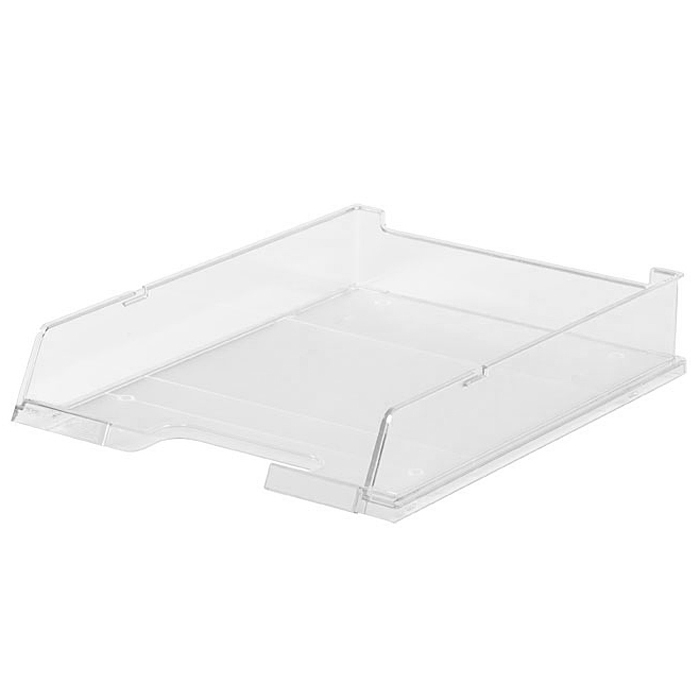 Лоток для бумаг горизонтальный HAN C4, прозрачный, цвет: белыйHA1020/23Горизонтальный лоток для бумаг HAN C4 предназначен для хранения бумаг и документов формата А4. Лоток с оригинальным дизайном корпуса поможет вам навести порядок на столе и сэкономить пространство.Лоток изготовлен из экологически чистого прозрачного антистатического пластика. Приподнятая фронтальная часть лотка облегчает изъятие документов из накопителя. Лоток имеет пластиковые ножки, предотвращающие скольжение по столу. Также лоток оснащен небольшим прозрачным окошком для этикетки. Лоток для бумаг станет незаменимым помощником для работы с бумагами дома или в офисе, а его стильный дизайн впишется в любой интерьер. Благодаря лотку для бумаг, важные бумаги и документы всегда будут под рукой.Несколько лотков можно ставить друг на друга, один в другой и друг на друга со смещением.