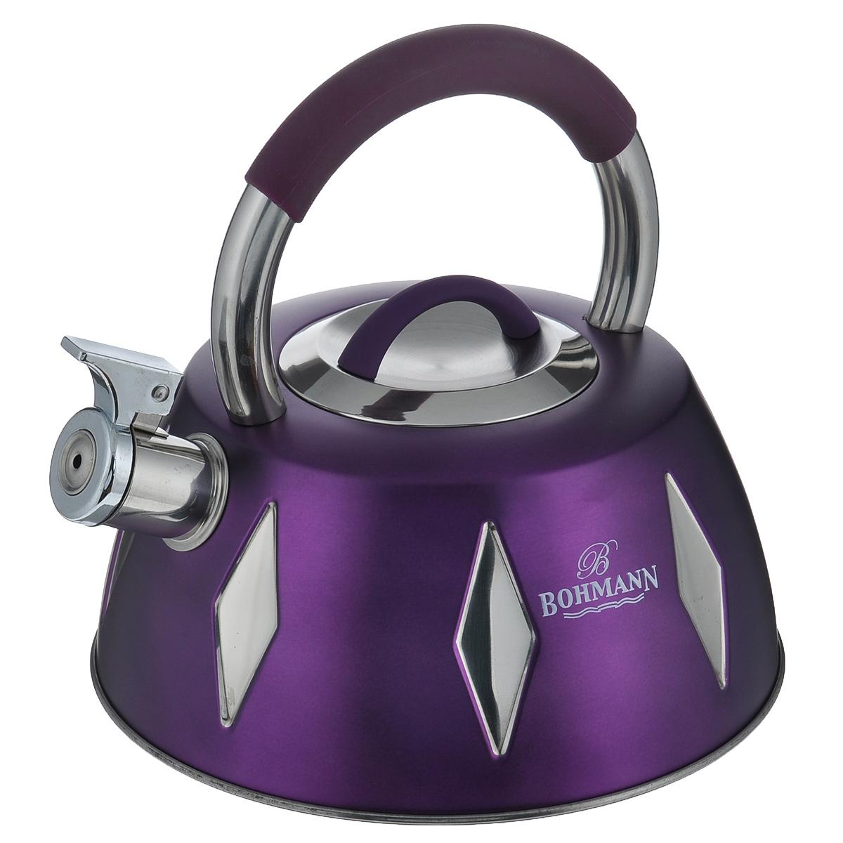 Чайник Bohmann со свистком, цвет: фиолетовый, 3,5 л. BH - 9948BH - 9948 фиолетовыйЧайник Bohmann изготовлен из высококачественной нержавеющей стали с цветным матовым покрытием. Нержавеющая сталь - материал, из которого в течение нескольких десятилетий во всем мире производятся столовые приборы, кухонные инструменты и различные аксессуары. Этот материал обладает высокой стойкостью к коррозии и кислотам. Прочность, долговечность и надежность этого материала, а также первоклассная обработка обеспечивают практически неограниченный запас прочности и неизменно привлекательный внешний вид. Чайник оснащен удобной ручкой с цветной силиконовой вставкой, что предотвращает появление ожогов и обеспечивает безопасность использования. Носик чайника имеет откидной свисток, который подскажет, когда вода закипела. Можно использовать на газовых, электрических, галогеновых, стеклокерамических, индукционных плитах. Можно мыть в посудомоечной машине.