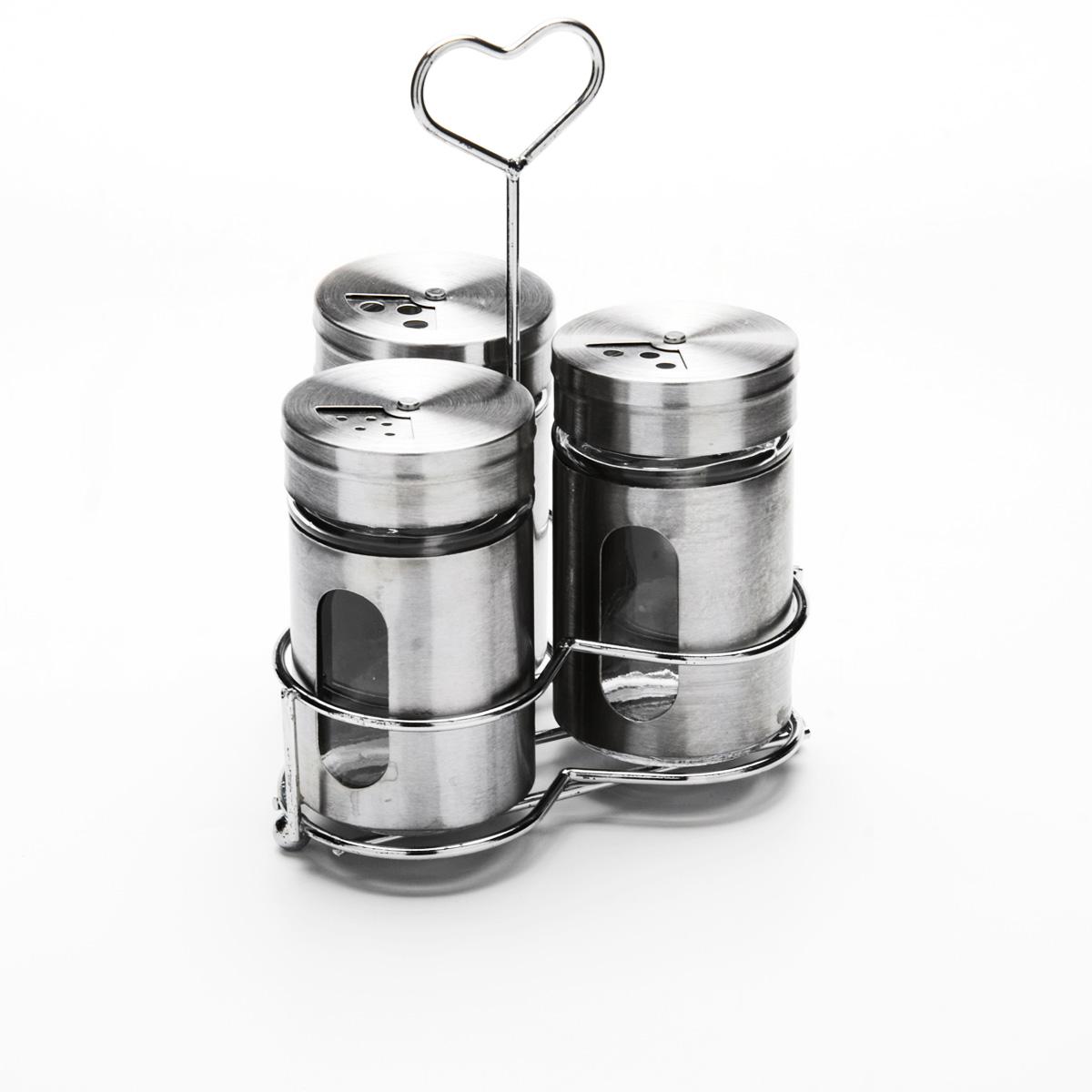 Набор для специй Mayer & Boch, на подставке, 4 предмета23480Набор для специй Mayer & Boch состоит из трех баночек и подставки. Баночки выполнены из стекла и высококачественной нержавеющей стали, оснащены плотно закручивающимися крышками, которые имеют три варианта добавления специй: через мелкие, средние или крупные отверстия. Для баночек предусмотрена металлическая подставка с ручкой. Набор для специй Mayer & Boch стильно оформит интерьер кухни и станет незаменимым при приготовлении пищи. Компактный, не занимает много места и всегда будет под рукой. Диаметр баночки (по верхнему краю): 3,5 см. Высота баночки (с крышкой): 8 см. Объем баночки: 85 мл. Размер подставки: 11 см х 10 см х 16 см.