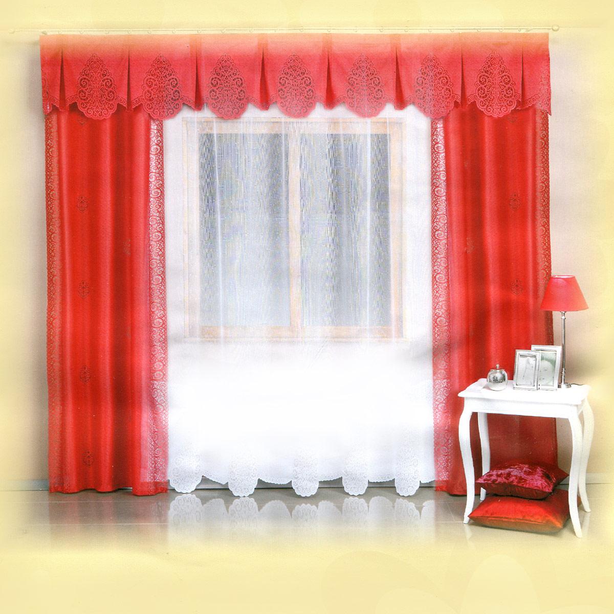 Комплект штор Wisan Wita, на ленте, цвет: алый, белый, высота 250 см5997 тюль - белая, шторы алыеРоскошный комплект штор Wisan Wita, выполненный из полиэстера, великолепно украсит любое окно. Комплект состоит из двух штор, тюля и ламбрекена. Шторы выполнены из полиэстера и декорированы ажурными вставками. Тюль с фигурными ажурными краями выполнен из полупрозрачной ткани белого цвета. Фигурный ламбрекен выполнен из ажурной ткани.Нежная воздушная текстура, оригинальный дизайн и нежная цветовая гамма привлекут к себе внимание и органично впишутся в интерьер комнаты. Все предметы комплекта - на шторной ленте для собирания в сборки.