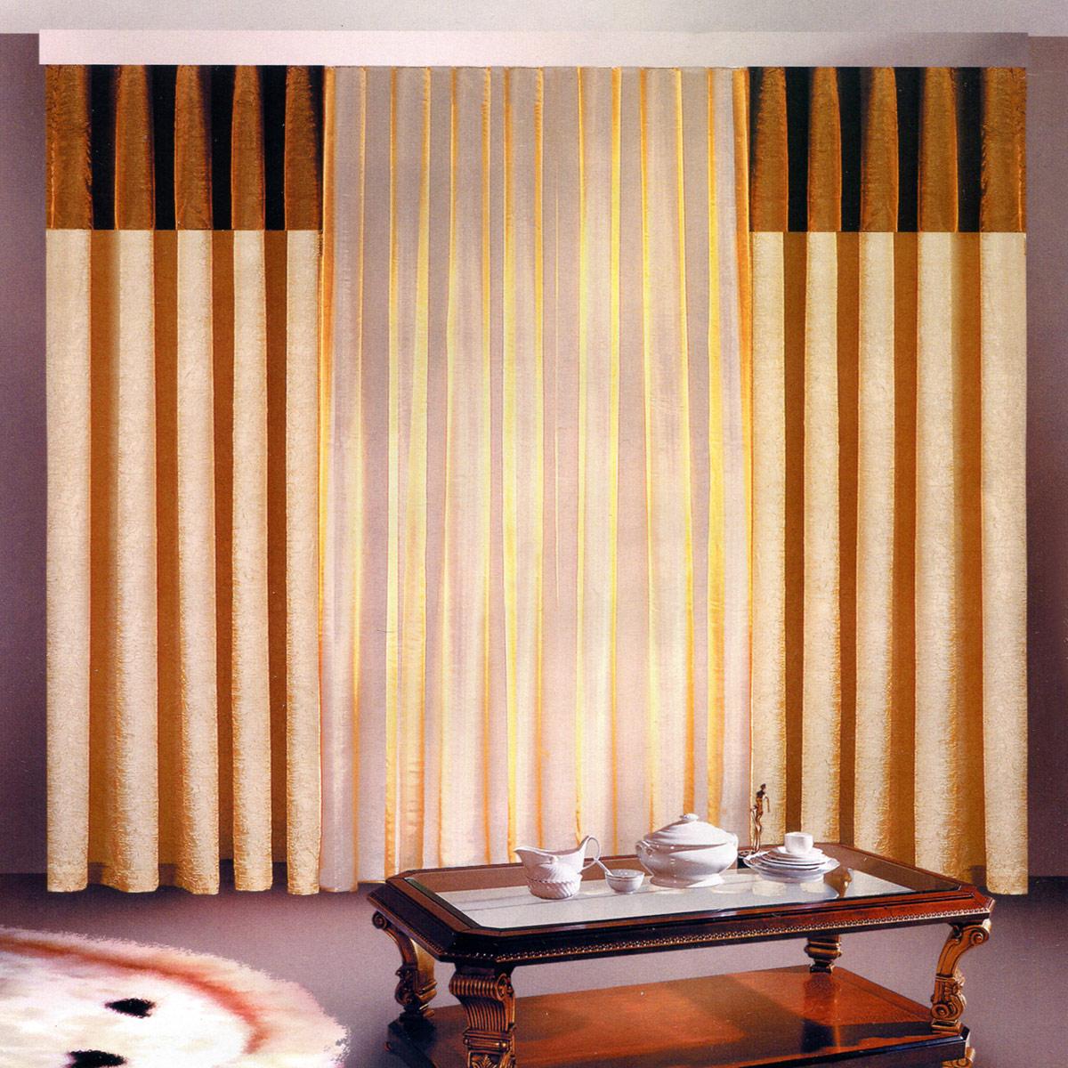 Комплект штор Zlata Korunka, на ленте, цвет: венге, высота 250 см. Б097Б097 венгеРоскошный комплект штор Zlata Korunka, выполненный из полиэстера, великолепно украситлюбое окно. Комплект состоит из двух штор и тюля. Воздушная ткань и приятная, приглушеннаягамма привлекут к себевнимание и органично впишутся в интерьер помещения. Этот комплект будет долгое время радовать вас и вашу семью! Шторы крепятся на карниз при помощи ленты, которая поможет красиво и равномернозадрапировать верх.Ширина шторы: 140 +/- 5 см.