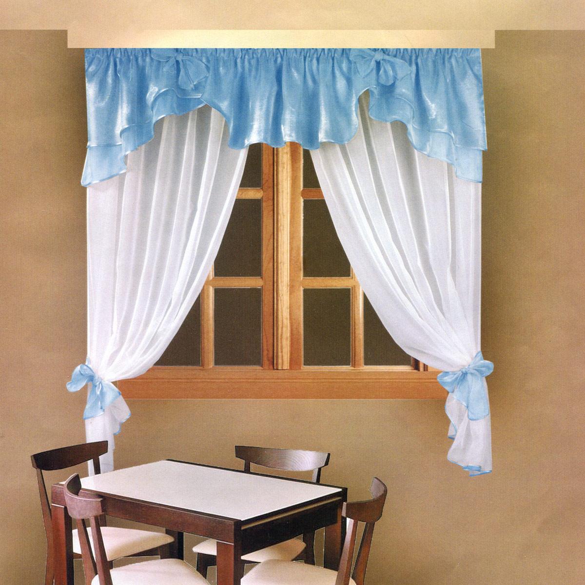 Комплект штор Zlata Korunka, на ленте, цвет: голубой, высота 160 см. Б029Б029Роскошный комплект штор Zlata Korunka, выполненный из полиэстера, великолепно украсит любое окно. Комплект состоит из ламбрекена и тюля. Воздушная ткань и приятная, приглушенная гамма привлекут к себе внимание и органично впишутся в интерьер помещения. Этот комплект будет долгое время радовать вас и вашу семью! Шторы крепятся на карниз при помощи ленты, которая поможет красиво и равномерно задрапировать верх. Тюль можно зафиксировать в одном положении с помощью двух подхватов, которые можно завязать в банты.