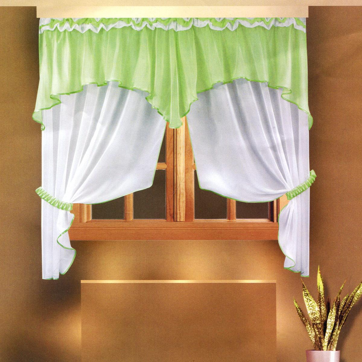 Комплект штор Zlata Korunka, на ленте, цвет: салатовый, высота 160 см. Б026Б026Роскошный комплект штор Zlata Korunka, выполненный из полиэстера, великолепно украсит любое окно. Комплект состоит из ламбрекена и тюля. Воздушная ткань и приятная, приглушенная гамма привлекут к себе внимание и органично впишутся в интерьер помещения. Этот комплект будет долгое время радовать вас и вашу семью! Шторы крепятся на карниз при помощи ленты, которая поможет красиво и равномерно задрапировать верх. Тюль можно зафиксировать в одном положении с помощью двух подхватов, которые также можно задрапировать.
