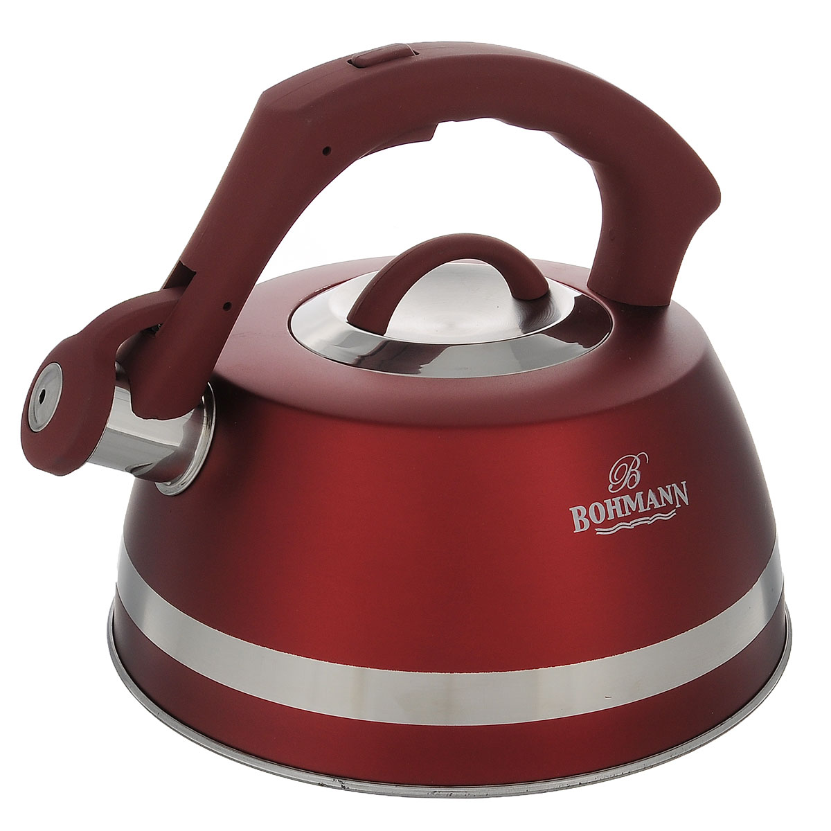 Чайник Bohmann со свистком, цвет: красный, 3,5 л. BH - 99671683Чайник Bohmann изготовлен из высококачественной нержавеющей стали с матовым цветнымпокрытием. Фиксированная ручка изготовлена из бакелита с прорезиненным покрытием. Носикчайника оснащен откидным свистком, звуковой сигнал которого подскажет, когда закипит вода.Свисток открывается нажатием кнопки на ручке. Чайник Bohmann - качественное исполнение и стильное решение для вашей кухни.Подходит для использования на газовых, стеклокерамических, электрических, галогеновых ииндукционных плитах. Нельзя мыть в посудомоечной машине.