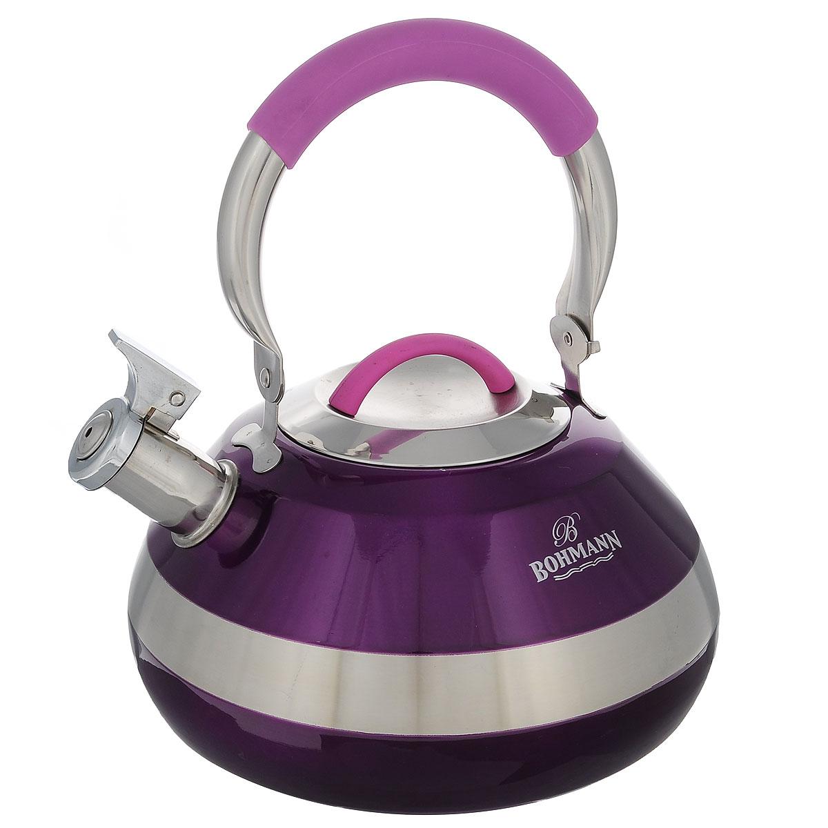 Чайник Bohmann со свистком, цвет: фиолетовый, 4 л. BH - 8059BH - 8059 фиолетЧайник Bohmann изготовлен из высококачественной нержавеющей стали с глянцевым цветным покрытием. Носик чайника оснащен откидным свистком, звуковой сигнал которого подскажет, когда закипит вода. Подвижная ручка изготовлена из нержавеющей стали с прорезиненным покрытием. Чайник Bohmann - качественное исполнение и стильное решение для вашей кухни.Подходит для использования на газовых, стеклокерамических, электрических, галогеновых и индукционных плитах. Также изделие можно мыть в посудомоечной машине.