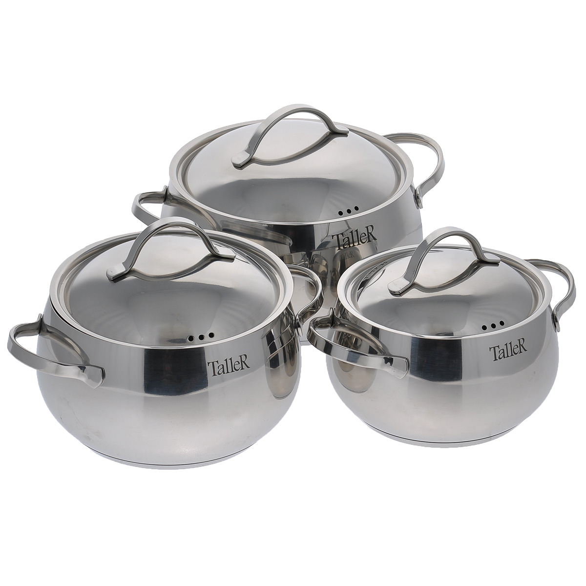 Набор посуды Taller Стаут, 7 предметовTR-1037Набор посуды Taller Стаут состоит из трех кастрюль с крышками и бакелитовой подставки. Кастрюли выполненыиз высококачественной нержавеющей стали 18/10, которая отличается прочностью, устойчивостью к коррозии иотсутствием вредных соединений при контакте с продуктами. Нержавеющая сталь 18/10 зарекомендовала себякак идеальный материал для кухонной посуды.Капсулированное дно с алюминиевой вставкой обеспечивает идеальное распределение тепла.Изделия имеют удобные ручки. Надежное крепление ручек гарантирует безопасность использования. Удобныеотметки литража на внутренней поверхности посуды позволяют не использовать при приготовлениидополнительную мерную посуду.Крышки изготовлены из нержавеющей стали. Специальное отверстие для выхода пара позволяет готовить сзакрытой крышкой, предотвращая выкипание.В комплект входит бакелитовая подставка под горячее.Подходит для всех типов плит, включая индукционные. Можно мыть в посудомоечной машине. Не подходит длядуховых шкафов.