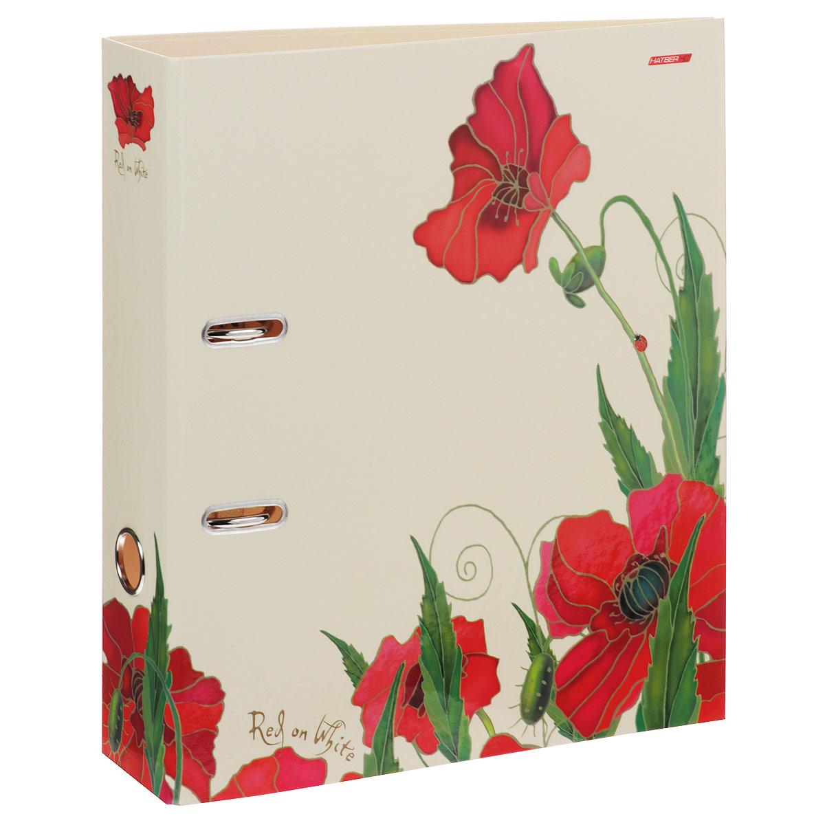 Папка-регистратор Hatber  Red on White , цвет: бежевый, красный, ширина корешка 70 мм -  Папки