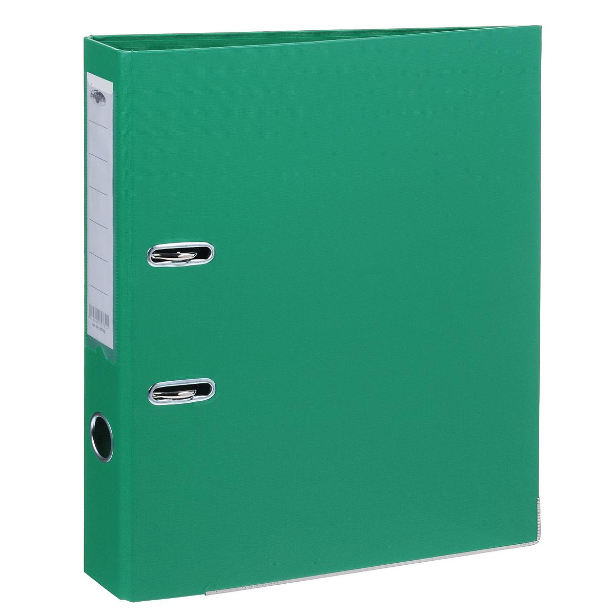 Папка-регистратор Centrum, ширина корешка 50 мм, цвет: зеленый82732Папка-регистратор Centrum пригодится в каждом офисе и доме для хранения больших объемов документов. Внешняя сторона папки выполнена из плотного картона с двусторонним ПВХ-покрытием, что обеспечивает устойчивость к влаге и износу. Нижняя кромка папки защищена от истирания металлической окантовкой. Папка-регистратор оснащена надежным арочным механизмом крепления бумаги. Круглое отверстие в корешке папки облегчит ее извлечение с полки, а прозрачный карман со съемной этикеткой позволяет маркировать содержимое. Ширина корешка 5 см.