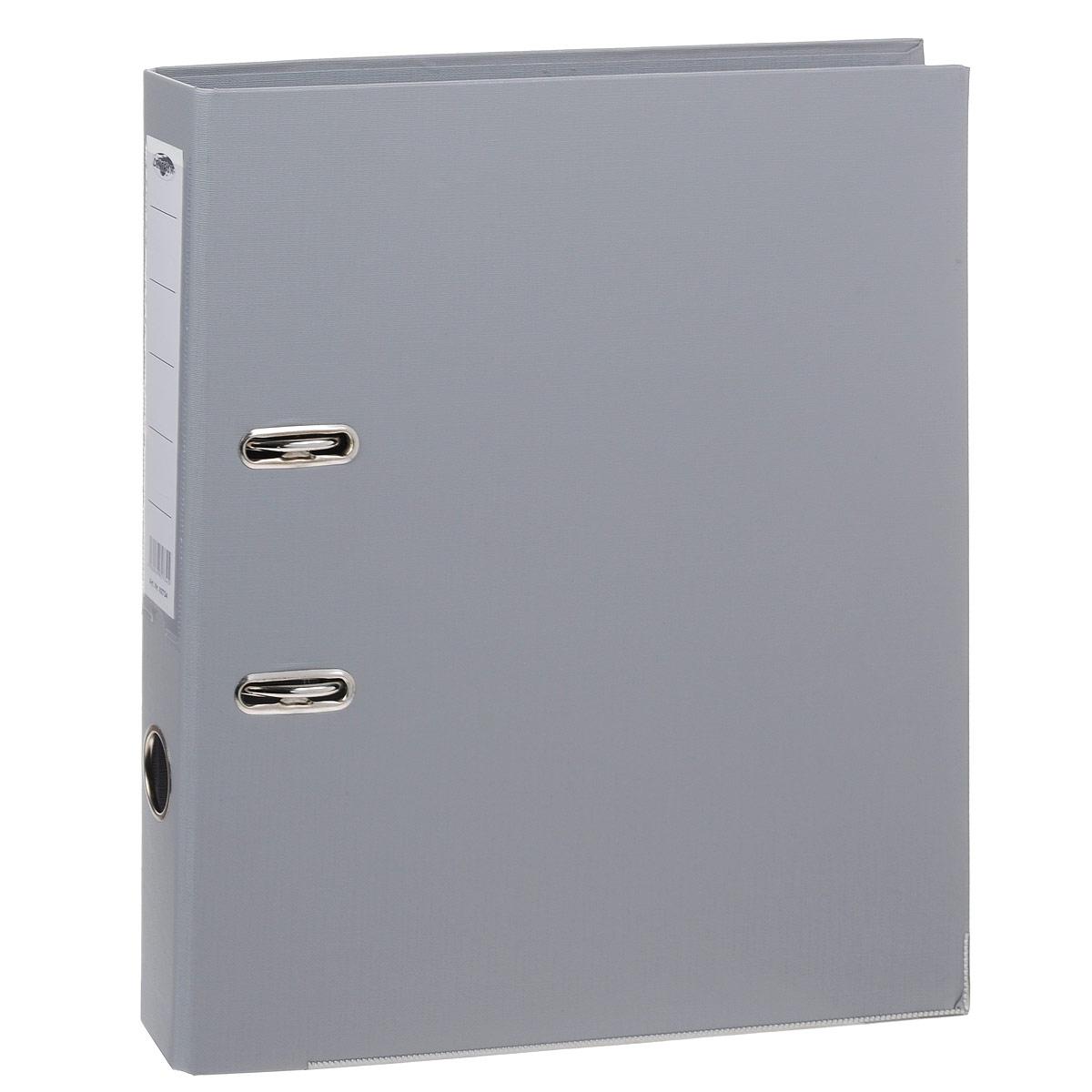 Папка-регистратор Centrum, ширина корешка 50 мм, цвет: серый82734Папка-регистратор Centrum пригодится в каждом офисе и доме для хранения больших объемов документов. Внешняя сторона папки выполнена из плотного картона с двусторонним ПВХ-покрытием, что обеспечивает устойчивость к влаге и износу. Нижняя кромка папки защищена от истирания металлической окантовкой.Папка-регистратор оснащена надежным арочным механизмом крепления бумаги. Круглое отверстие в корешке папки облегчит ее извлечение с полки, а прозрачный карман со съемной этикеткой позволяет маркировать содержимое. Ширина корешка 5 см.
