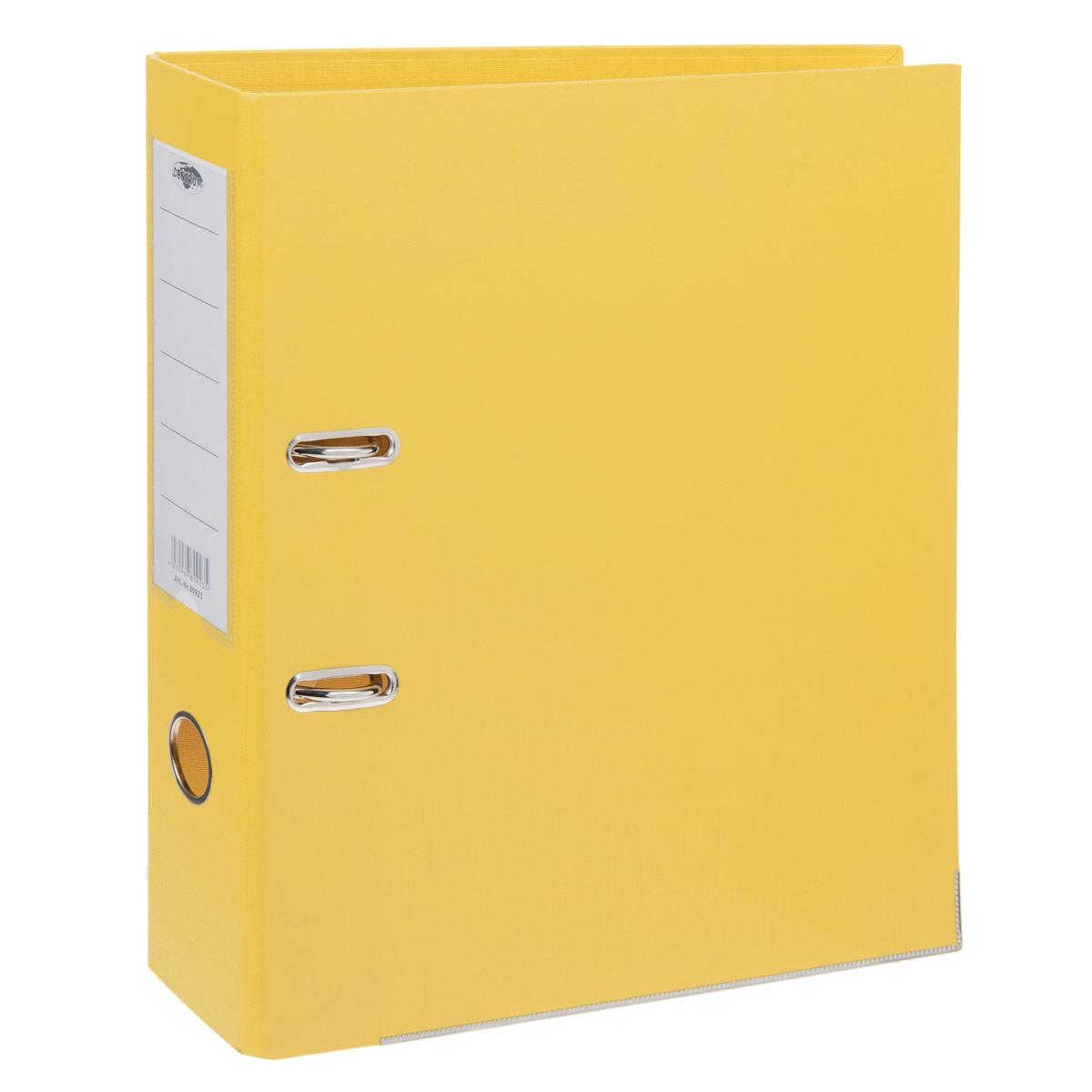 Папка-регистратор Centrum, ширина корешка 75 мм, цвет: желтыйAC4_11264Папка-регистратор Centrum пригодится в каждом офисе и доме для хранения больших объемов документов. Внешняя сторона папки выполнена из плотного картона с двусторонним ПВХ-покрытием, что обеспечивает устойчивость к влаге и износу. Нижняя кромка папки защищена от истирания металлической окантовкой. Папка-регистратор оснащена надежным арочным механизмом крепления бумаги. Круглое отверстие в корешке папки облегчит ее извлечение с полки, а прозрачный карман со съемной этикеткой позволяет маркировать содержимое. Ширина корешка 7,5 см.