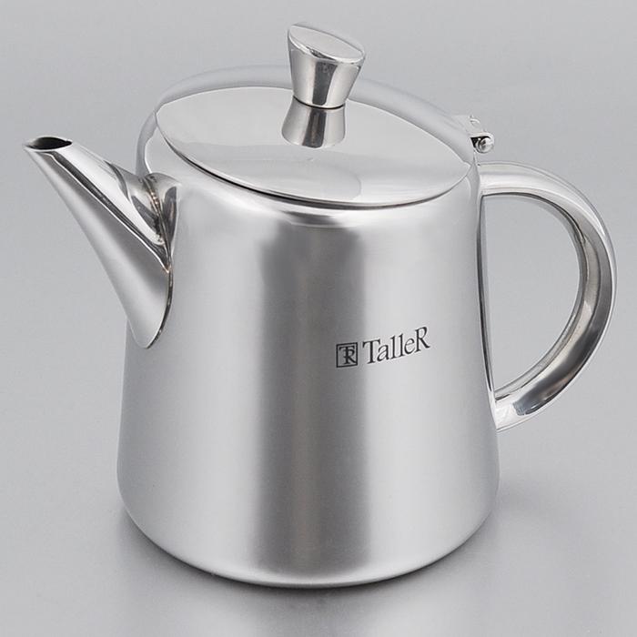 Чайник заварочный Taller Archer, 500 млTR-1337Чайник заварочный Taller Archer изготовлен из нержавеющей стали 18/10 и подойдет для заваривания чая или кофе. Откидная крышка имеет удобную ручку. Форма края носика препятствует образованию подтеков. Чайник заварочный Taller Archer украсит кухонный стол, а также станет замечательным подарком для ваших друзей и близких. Подходит для всех видов плит, кроме индукционных. Пригоден для мойки в посудомоечной машине.