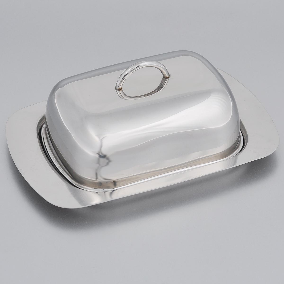 """Масленка Taller """"Молли"""" идеально подходит для хранения масла и сервировки стола. Масленка выполнена из нержавеющей стали с внешней зеркальной полировкой и состоит из подноса и крышки с ручкой. Благодаря специальным выемкам крышка плотно устанавливается на поднос.  Современный изысканный дизайн создаст безупречный стиль для вашей кухни. Масло в такой масленке долго остается свежим, а при хранении в холодильнике не впитывает посторонние запахи. Можно мыть в посудомоечной машине."""