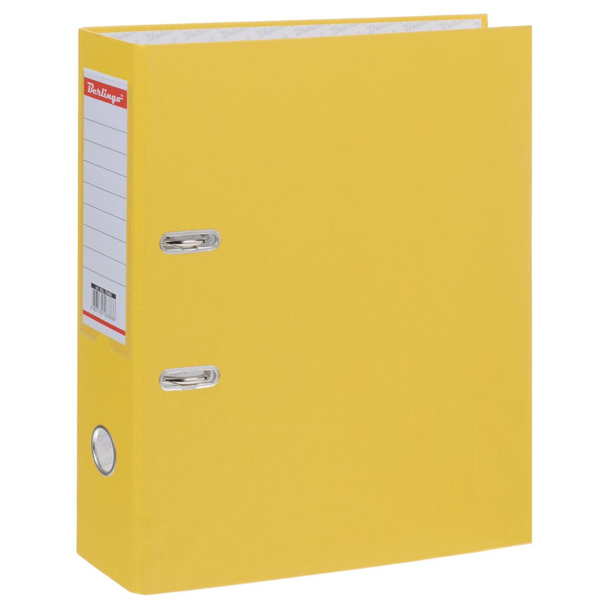 Папка-регистратор Berlingo, ширина корешка 70 мм, цвет: желтыйATb_70405Папка-регистратор Berlingo пригодится в каждом офисе и доме для хранения больших объемов документов. Внешняя сторона папки выполнена из плотного картона с ПВХ-покрытием, что обеспечивает устойчивость к влаге и износу. Папка-регистратор оснащена надежным арочным механизмом крепления бумаги. Круглое отверстие в корешке папки облегчит ее извлечение с полки, а прозрачный карман со съемной этикеткой позволяет маркировать содержимое. Ширина корешка 7 см.
